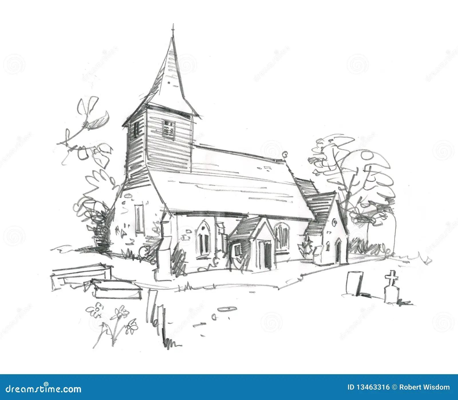 Kirche Bleistift Skizze Lizenzfreies Stockbild
