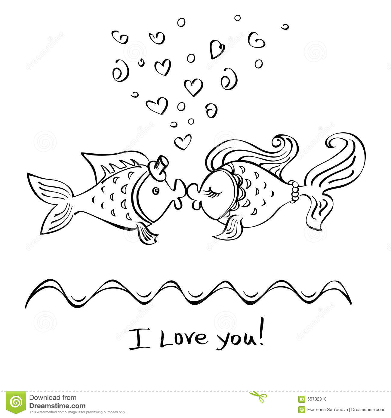 Kiss Of Two Fishes Drawing Stock Illustration Image Of