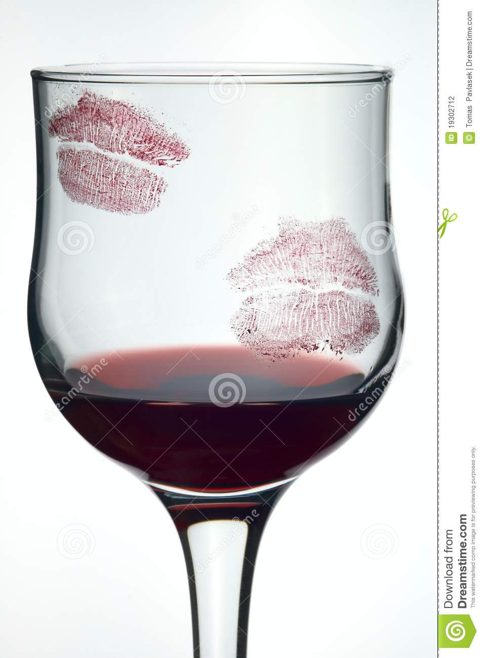 Kisses On Glass With Wine Stock Photography Image 19302712