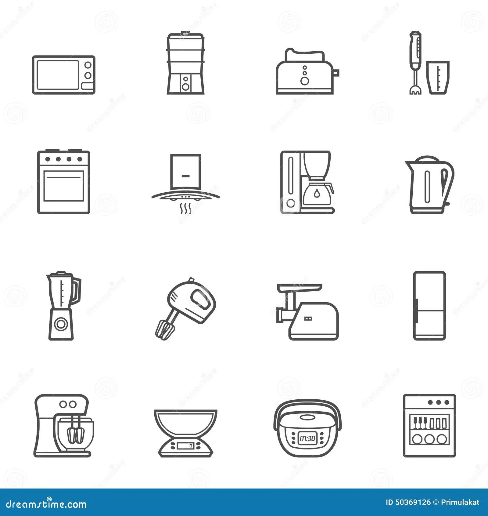 Kitchen Appliances Vector Line Style Icon Set Stock Vector