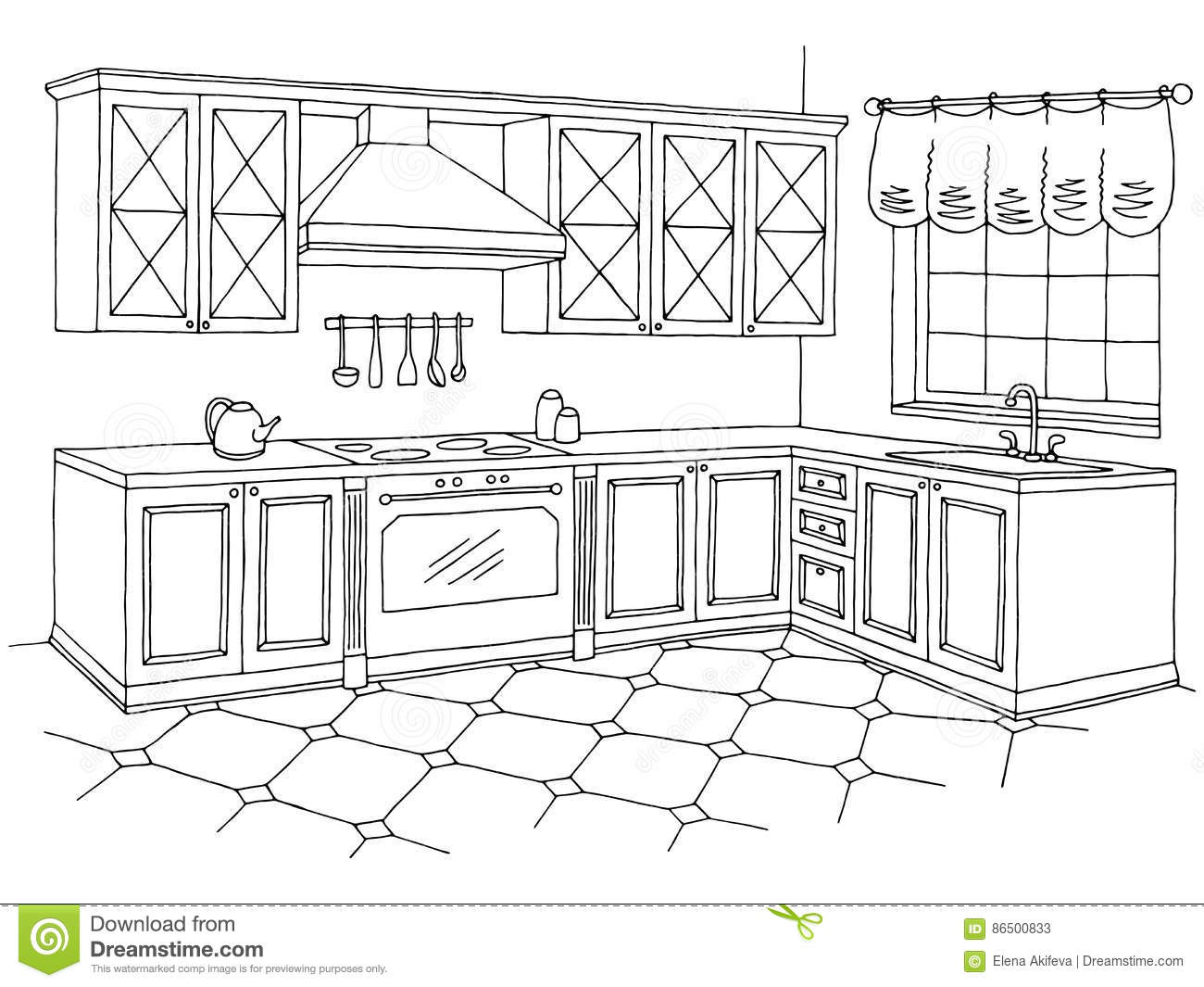 Kitchen Graphic Room Interior Black White Sketch