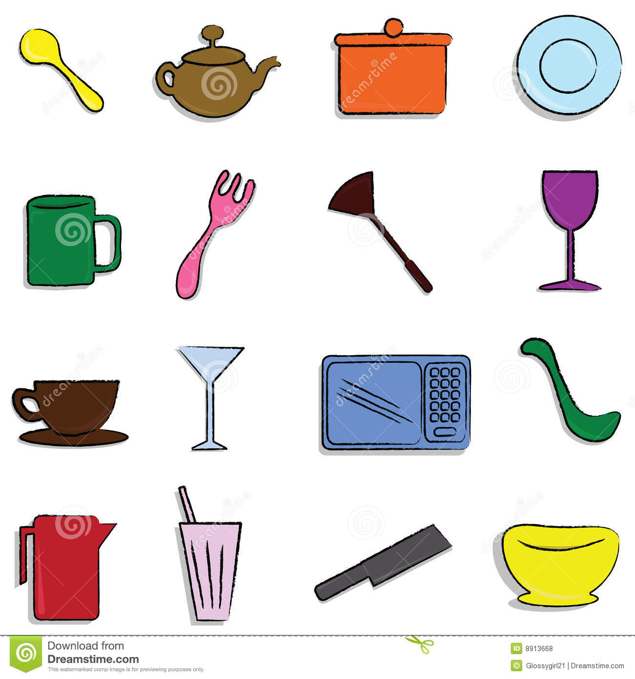 Kitchen Items Stock Vector Illustration Of Drawn Hand