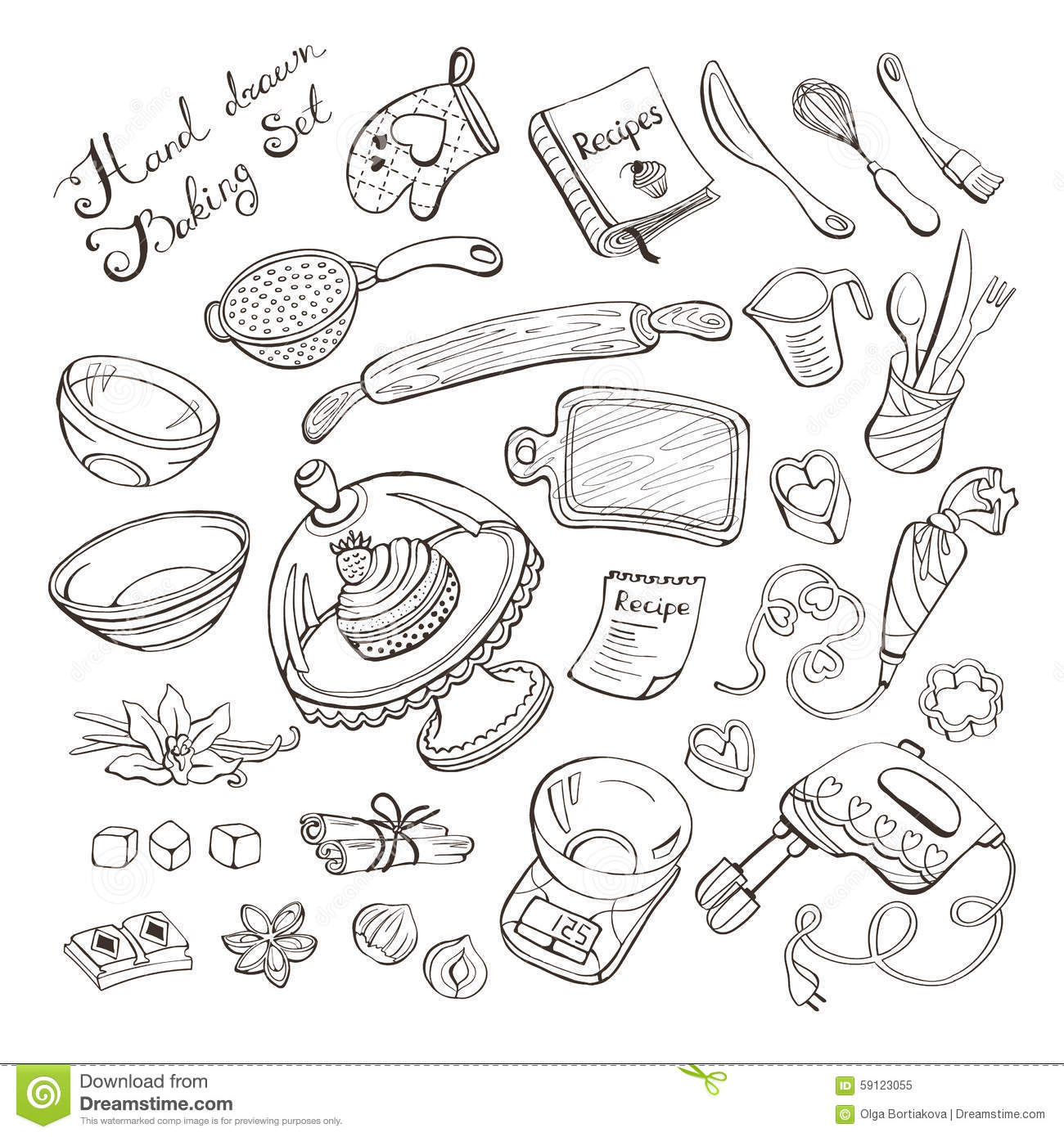 Kitchen Items For Baking Stock Vector