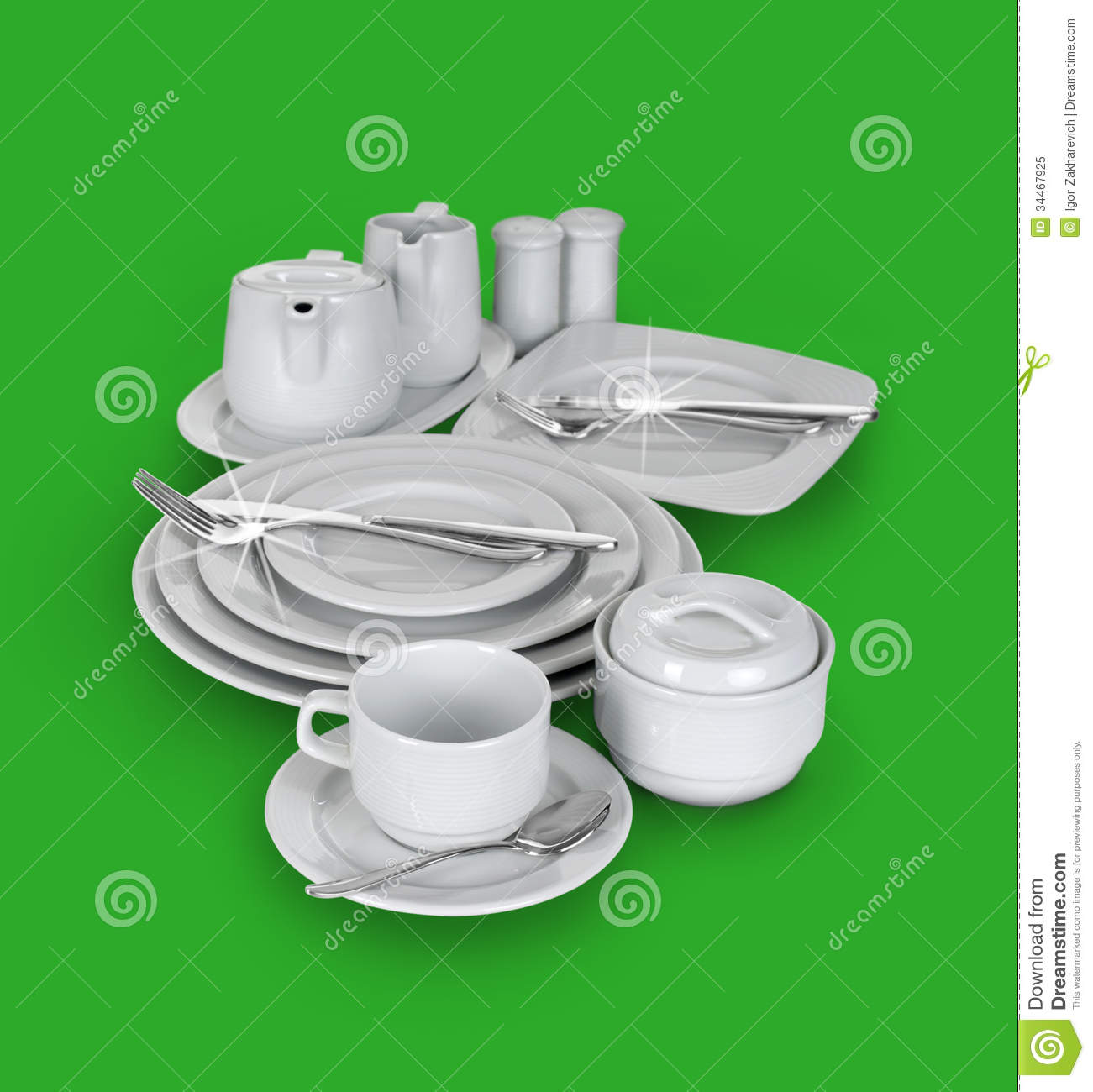 Kitchen Set Of Cups Plates And Glasses Stock Image