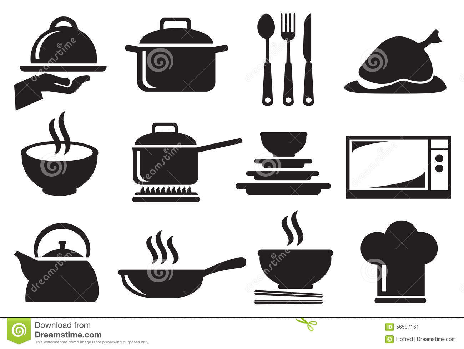 Kitchen Utensil Vector Icon Set Stock Vector