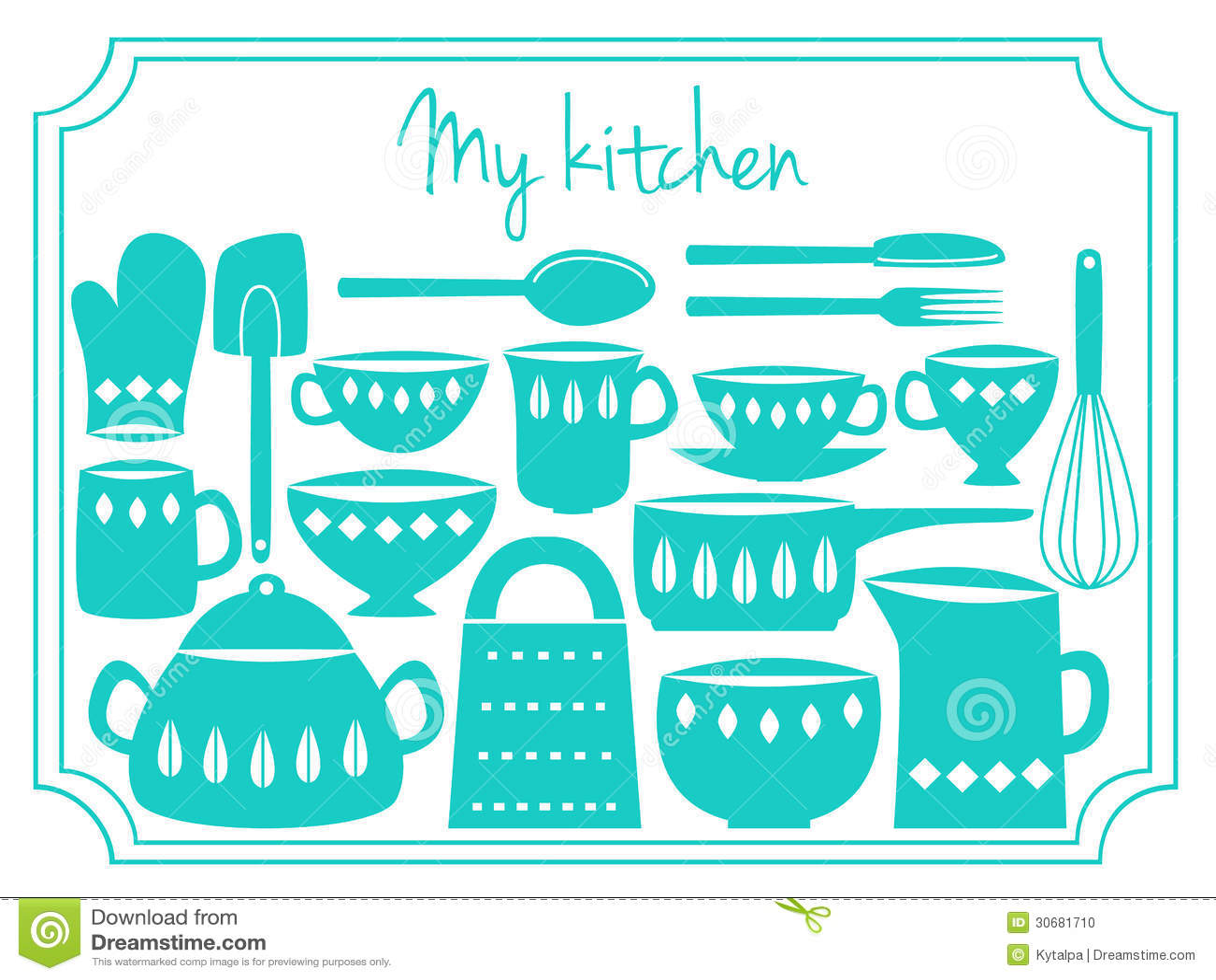 Kitchen Utensils Label Stock Vector Illustration Of Spoon