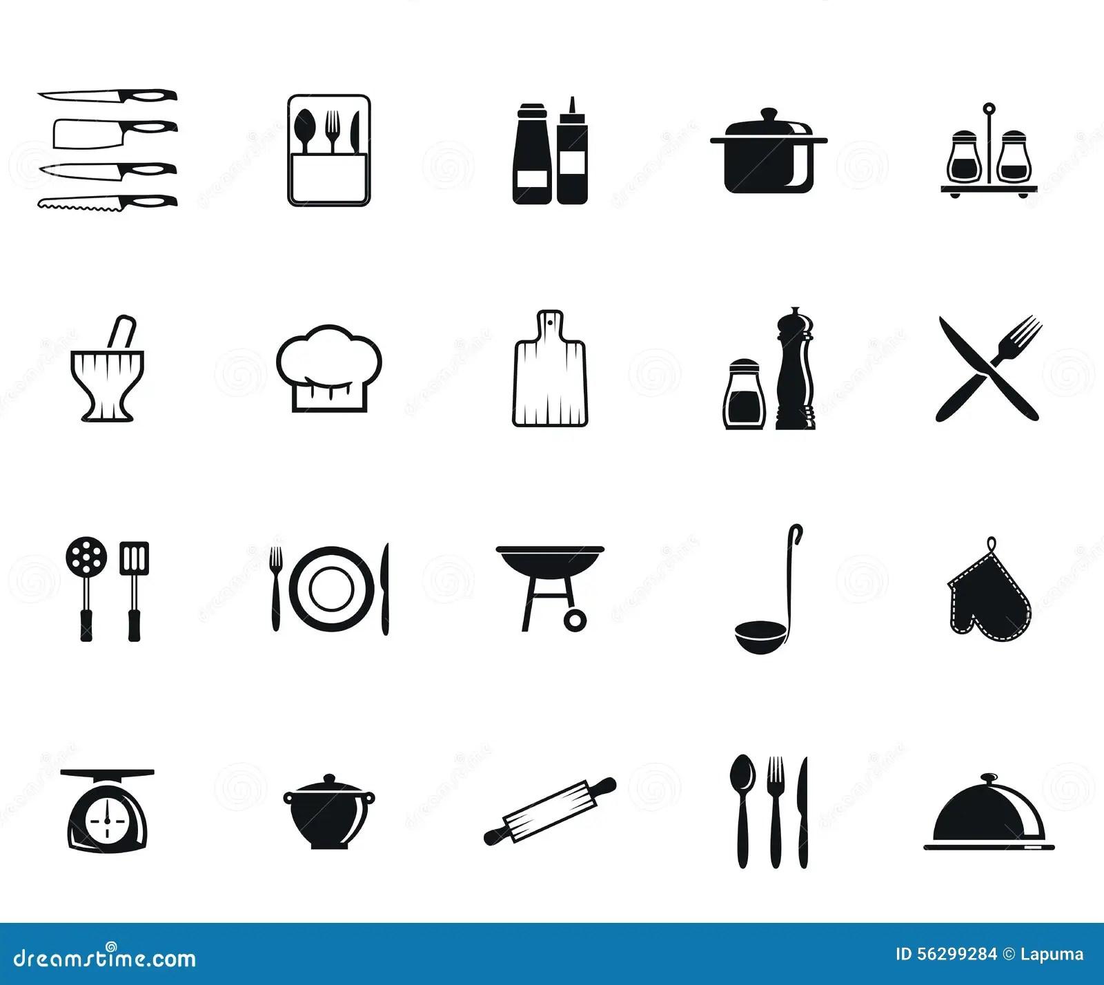 Kitchenwaresymboler Vektor Illustrationer Illustration Av Service