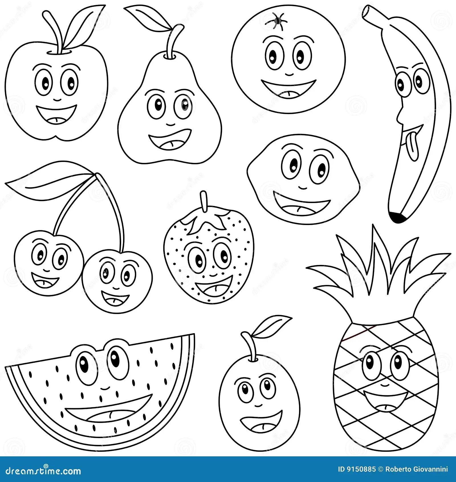 Kleurend Fruit Voor Jonge Geitjes Vector Illustratie