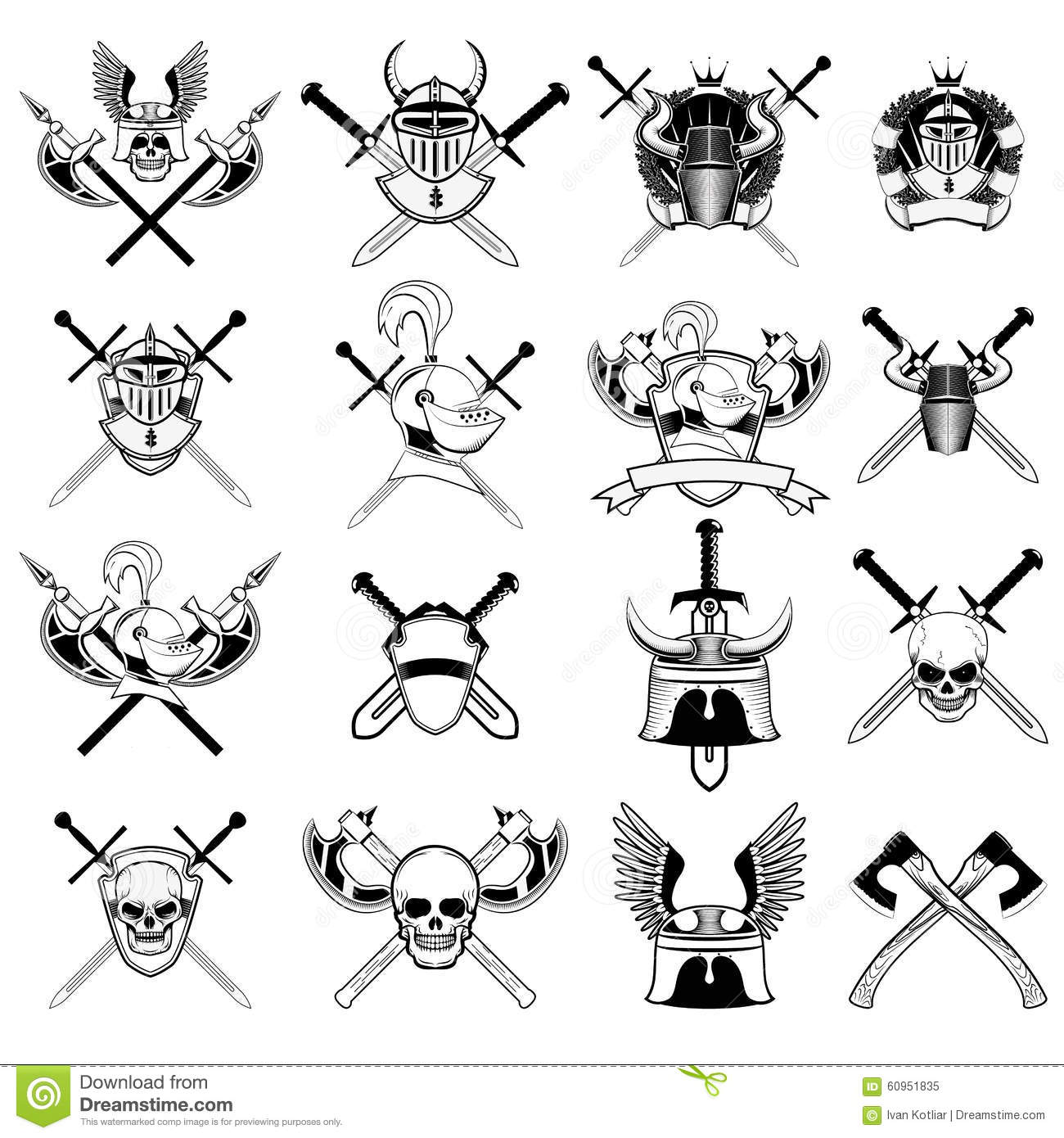 Knight Skull Helmet And Chainmail Royalty Free Stock Image