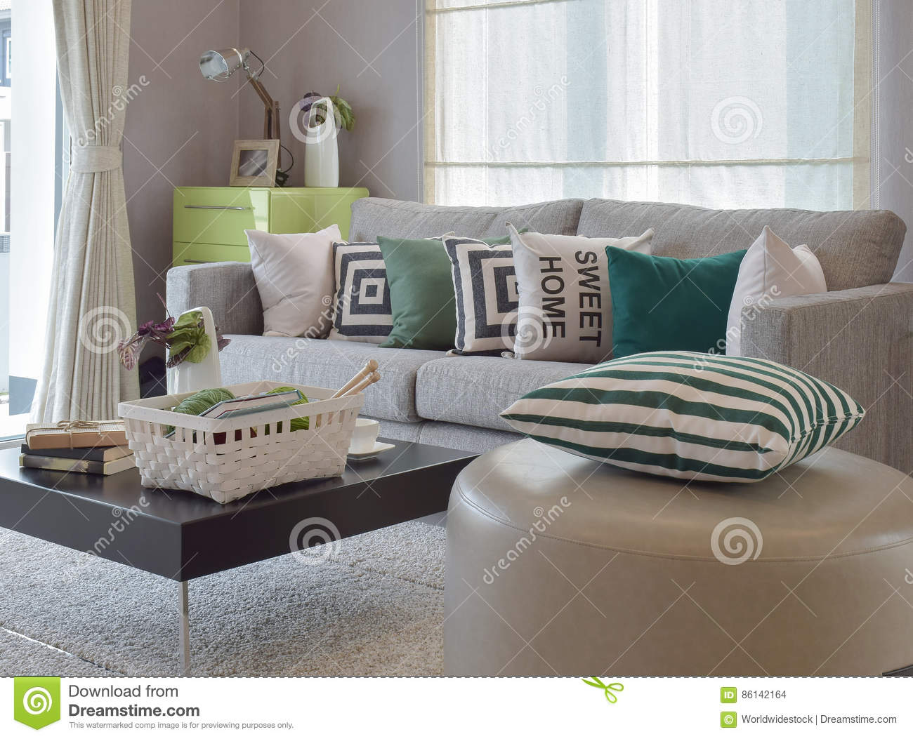 Knitting Set In Cozy Living Room With Gray Sofa And Retro