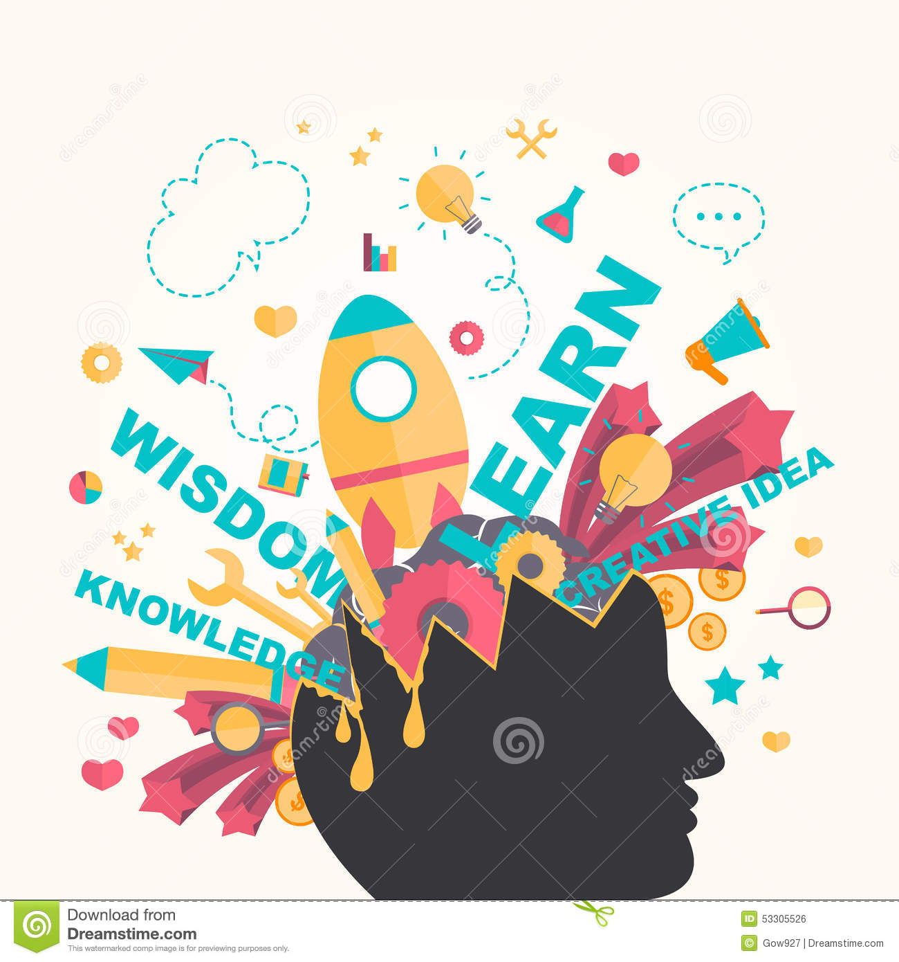 Knowledge And Creativity Icons Flow From A Man Head In Infographic Design Create By Vector