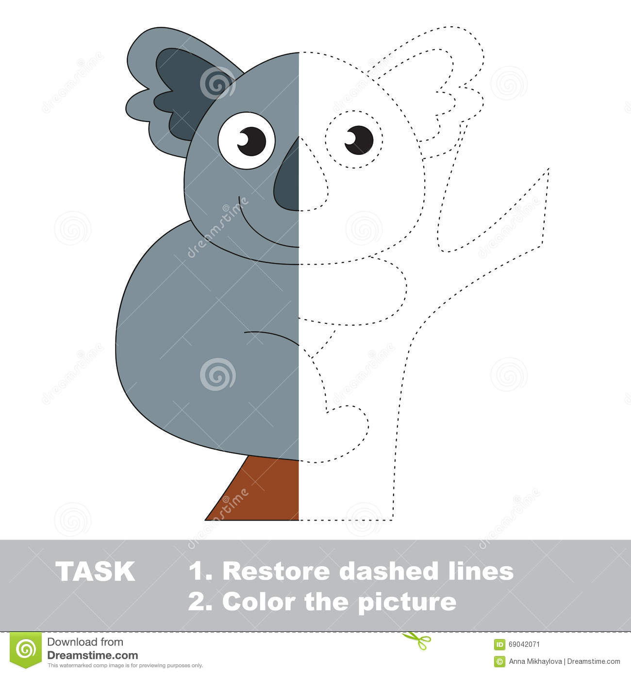 Koala To Be Colored Vector Trace Game Stock Vector