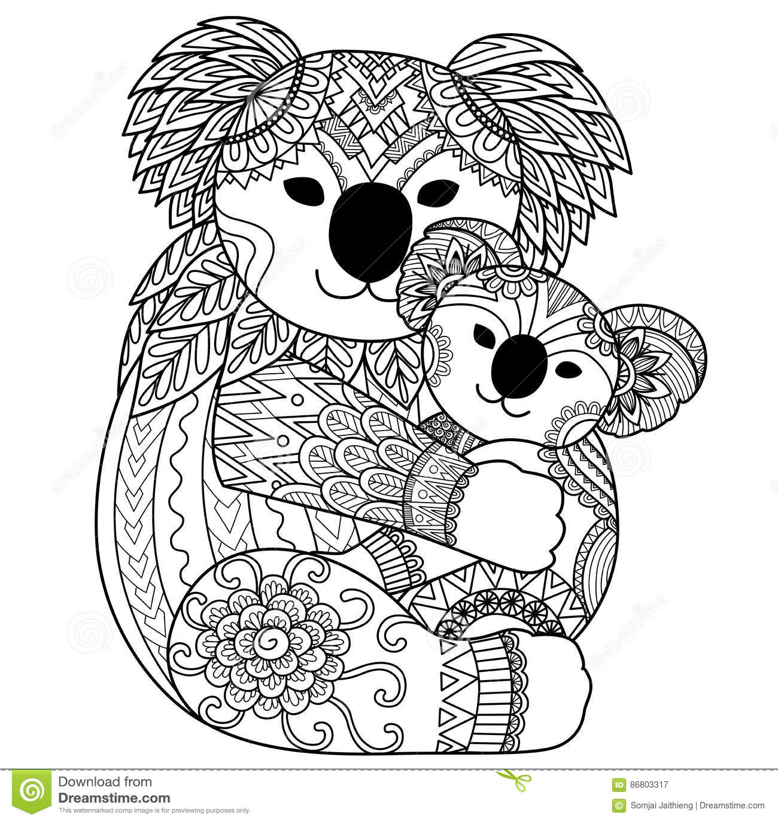 Koalamutter Ihr Baby Streichelt Vektor Abbildung