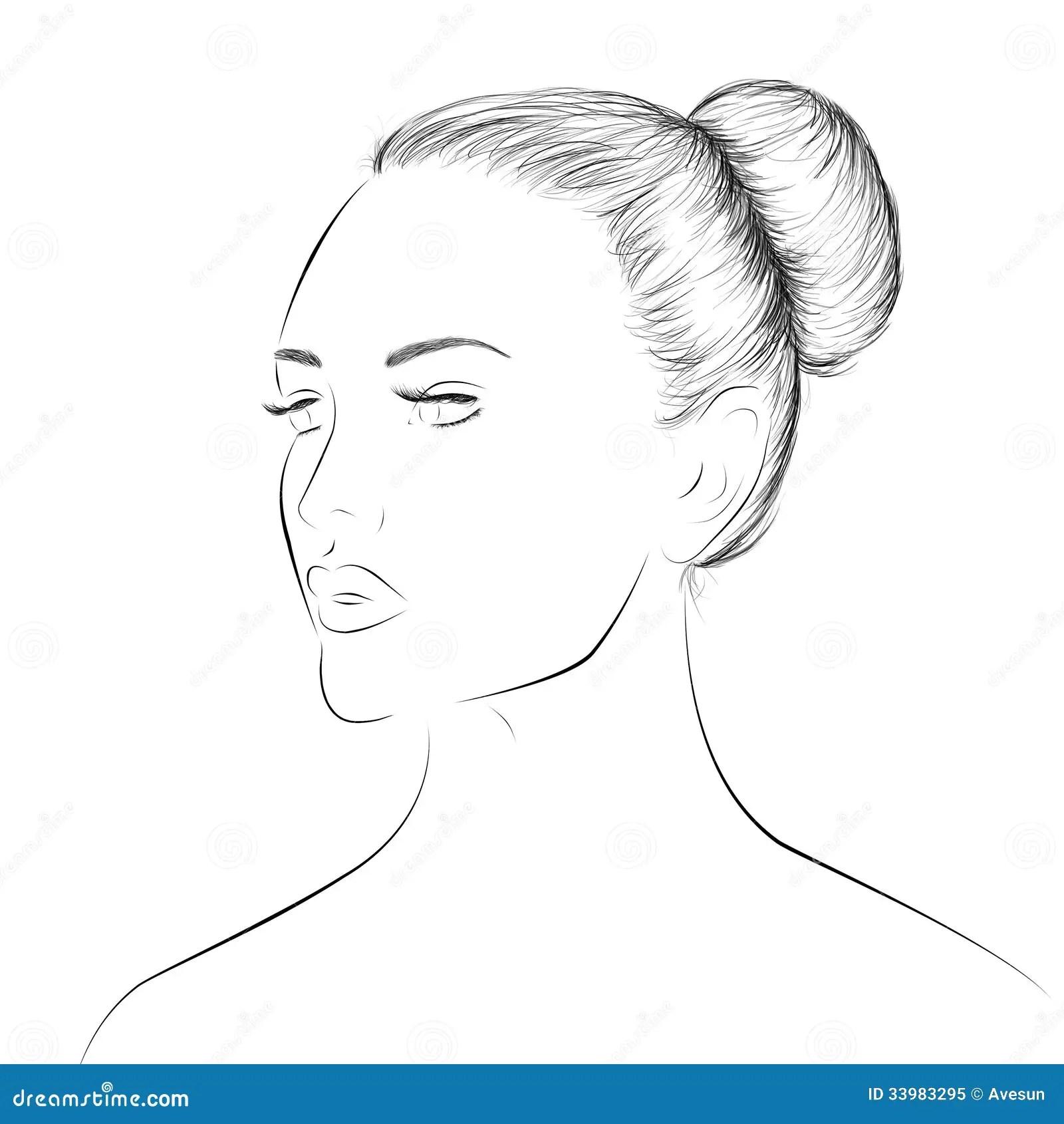 Kobiety Twarzy Lineart Nakre Lenie Ilustracji