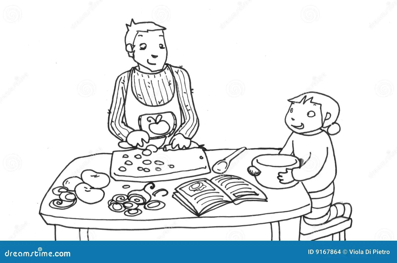 Kochen Mit Dem Vati Schwarzweiss Stock Abbildung