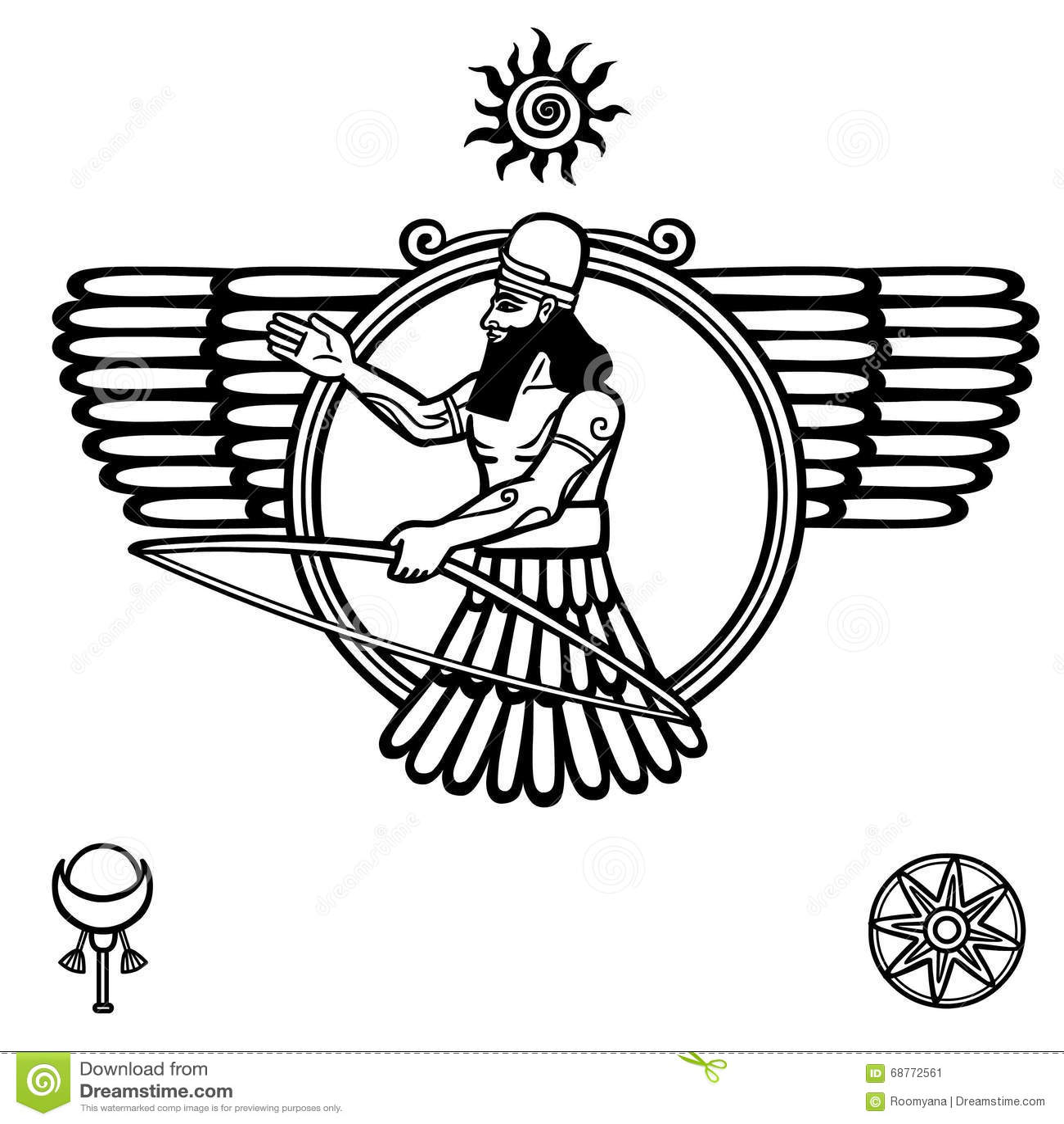 Kontur Av Den Assyriska Guden Vektor Illustrationer