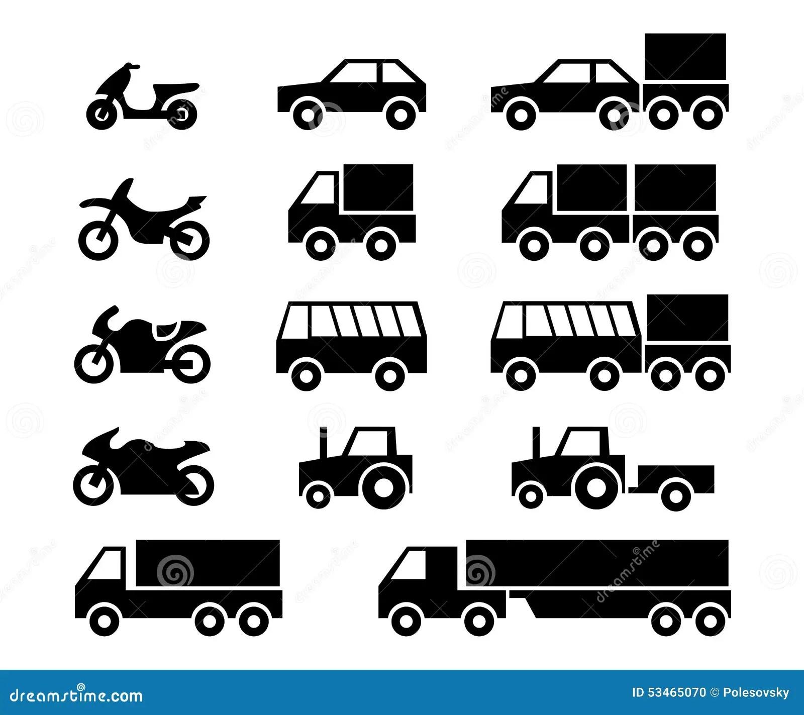 Kraftfahrzeug Ikonensatz Vektor Abbildung Illustration