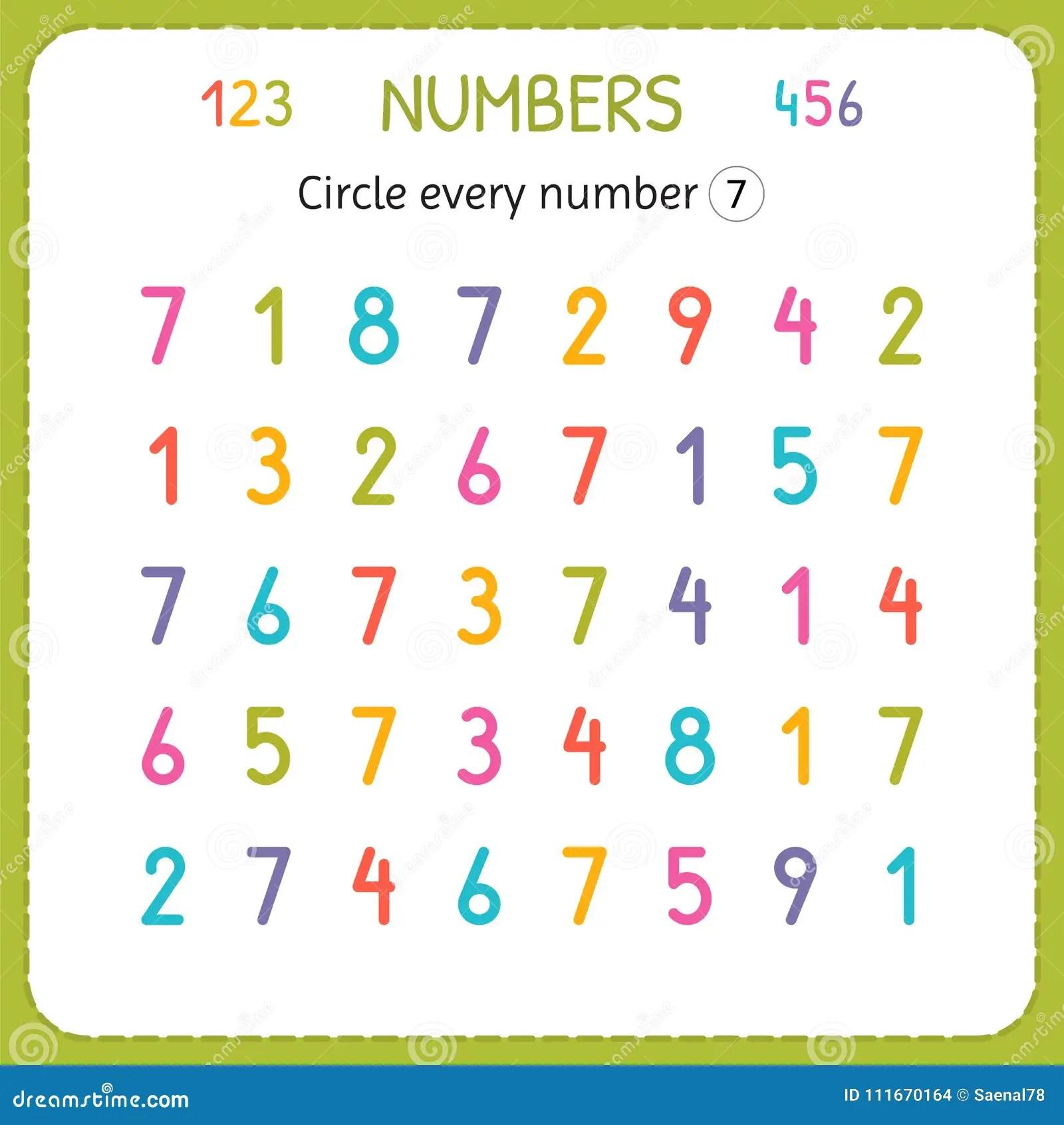 Kreisen Sie Jede Nr Sieben Ein Zahlen Fur Kinder Arbeitsblatt Fur Kindergarten Und Vorschule