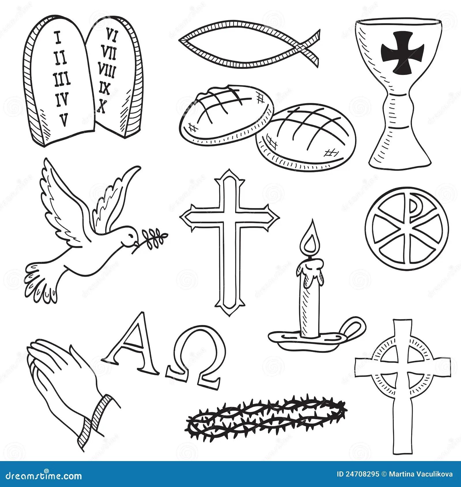 Kristen Tecknade Handillustrationsymboler Vektor