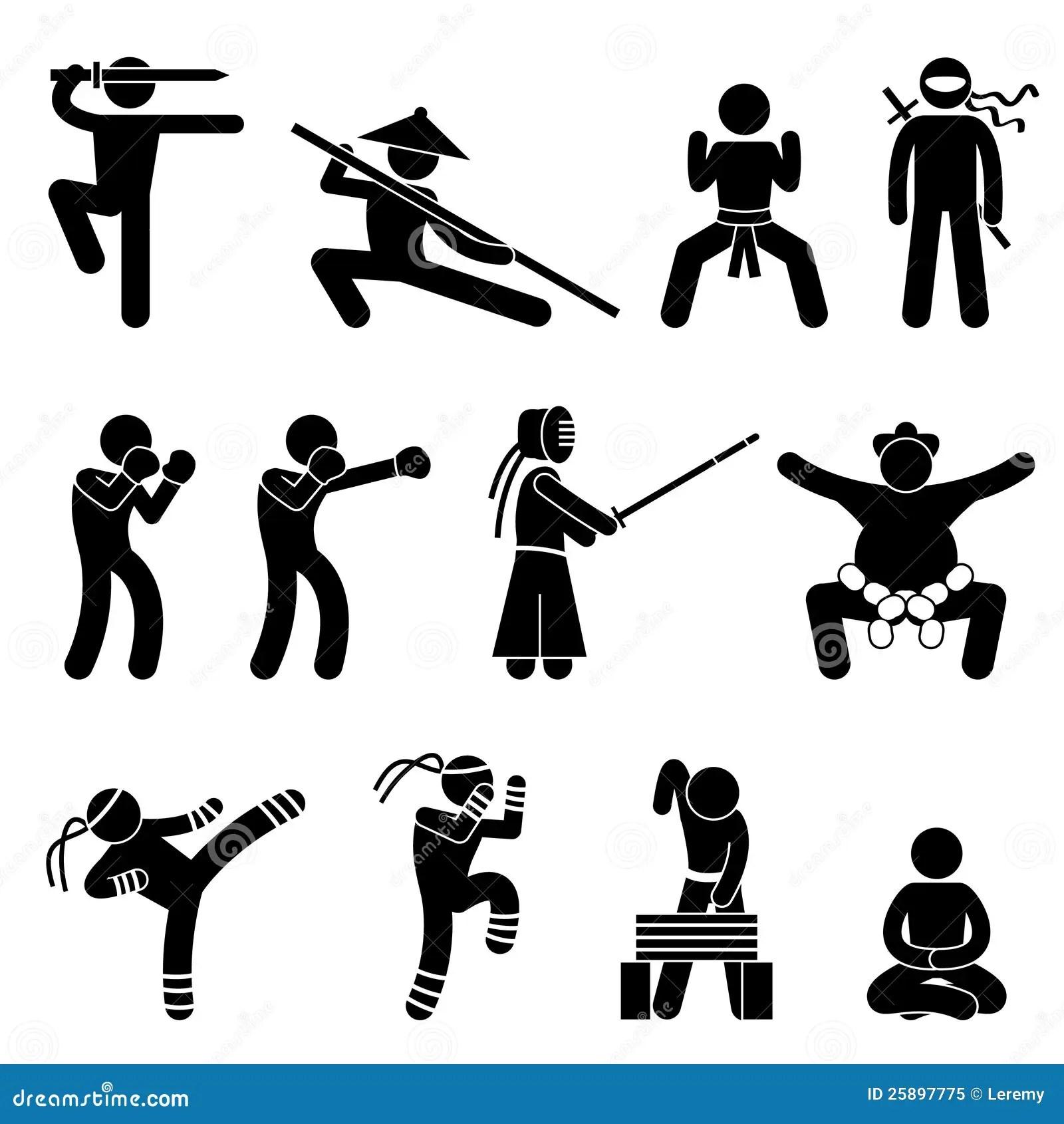 Kung Fu Martial Arts Self Defense Pictogram Royalty Free
