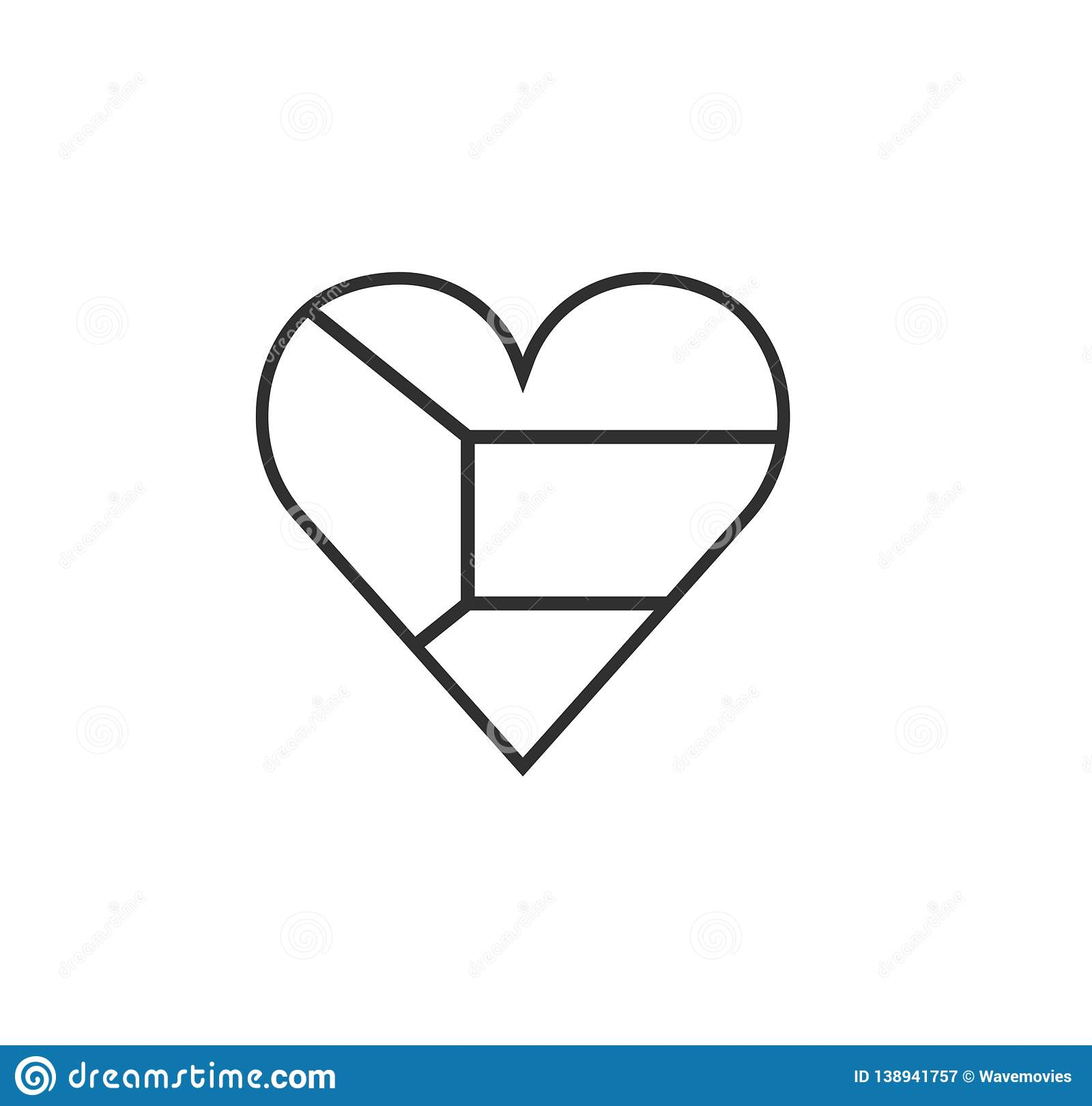 Kuwait Flag Icon In A Heart Shape In Black Outline Flat