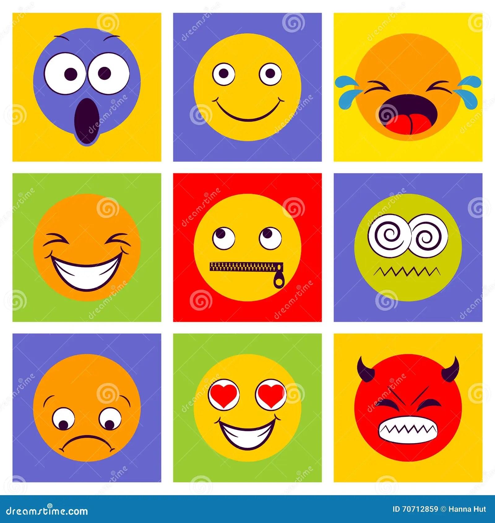 Lachelnikone Smileygesichter Verschiedene Gefuhle