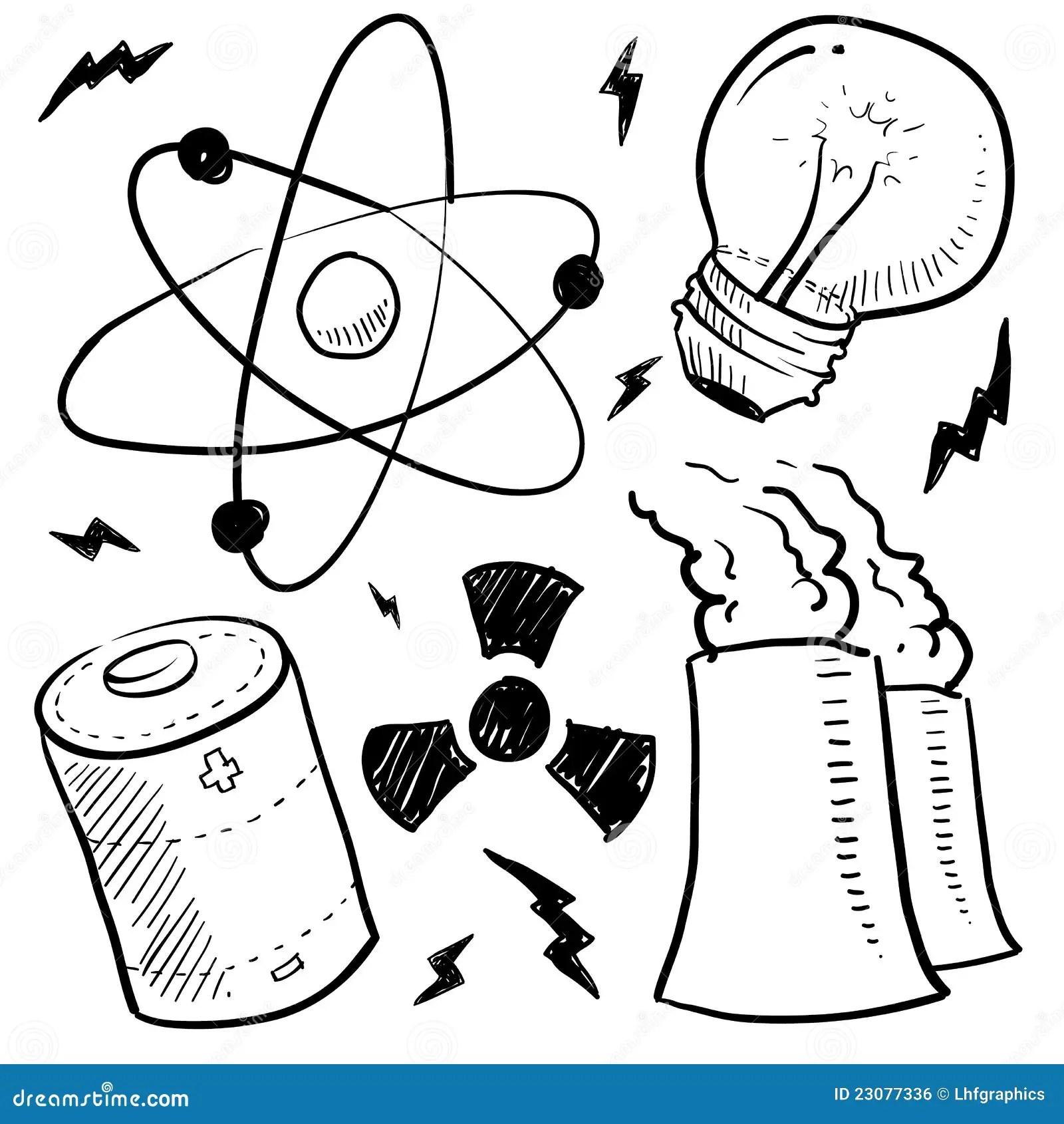 L Energie Nucleaire Objecte Le Croquis Illustration Stock