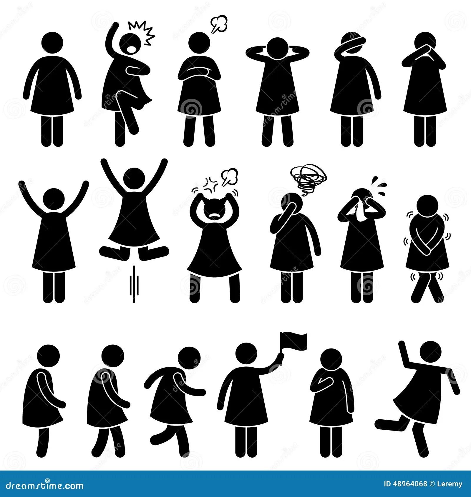 L Action Femelle Humaine De Femme De Fille Pose Des Icones