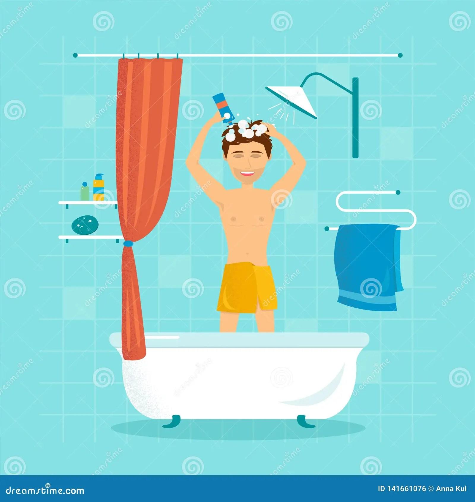 https fr dreamstime com l homme douche se lave les cheveux shampooing illustration vecteur image141661076
