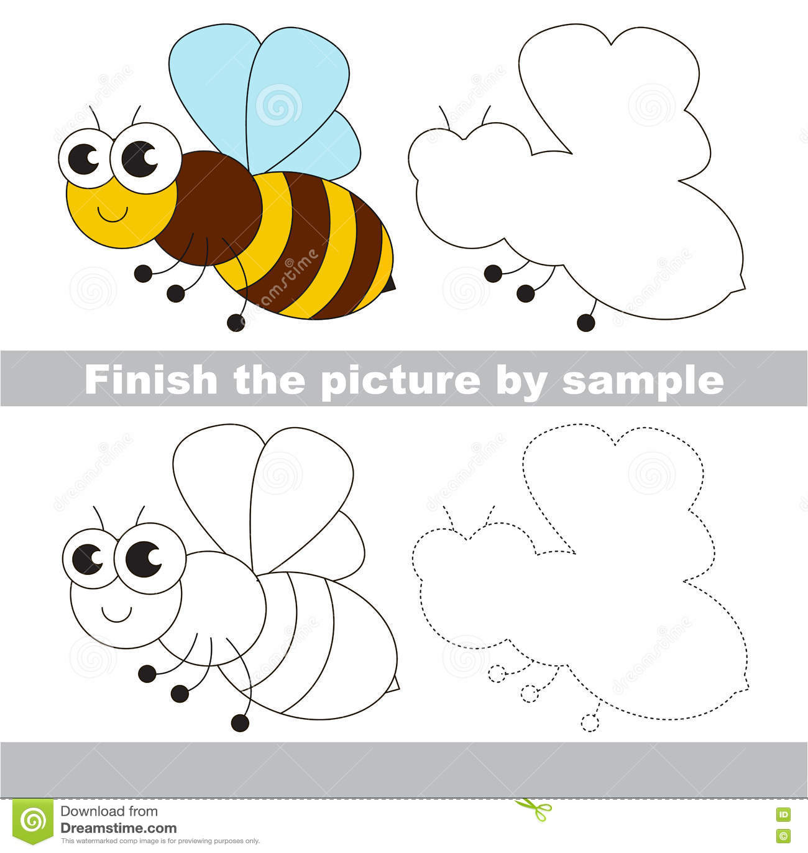 La Abeja Hoja De Trabajo Del Dibujo Ilustracion Del Vector