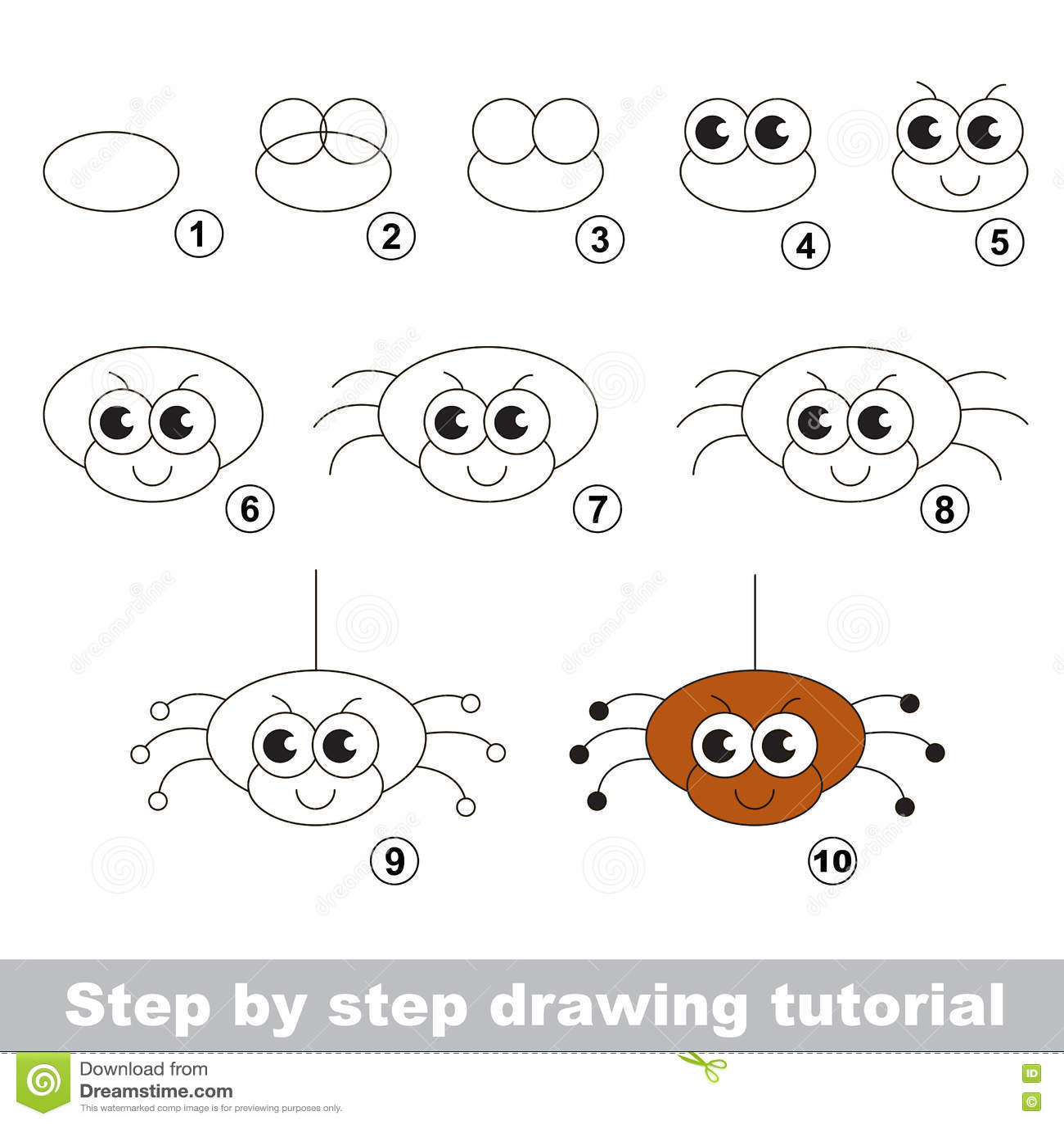 La Arana Divertida Tutorial Del Dibujo Ilustracion Del