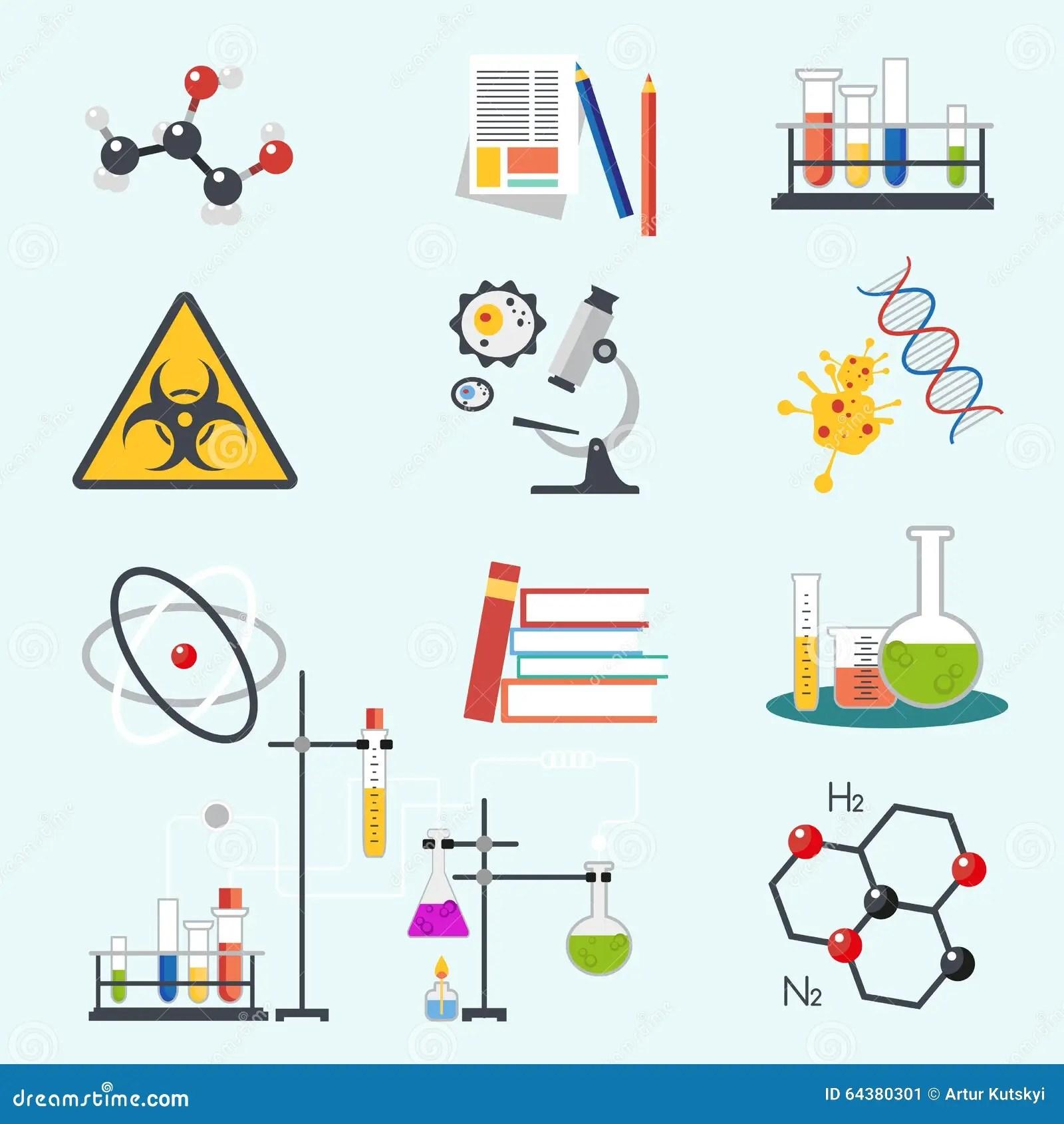 La Ciencia Quimica Del Laboratorio Y El Estilo Plano De La
