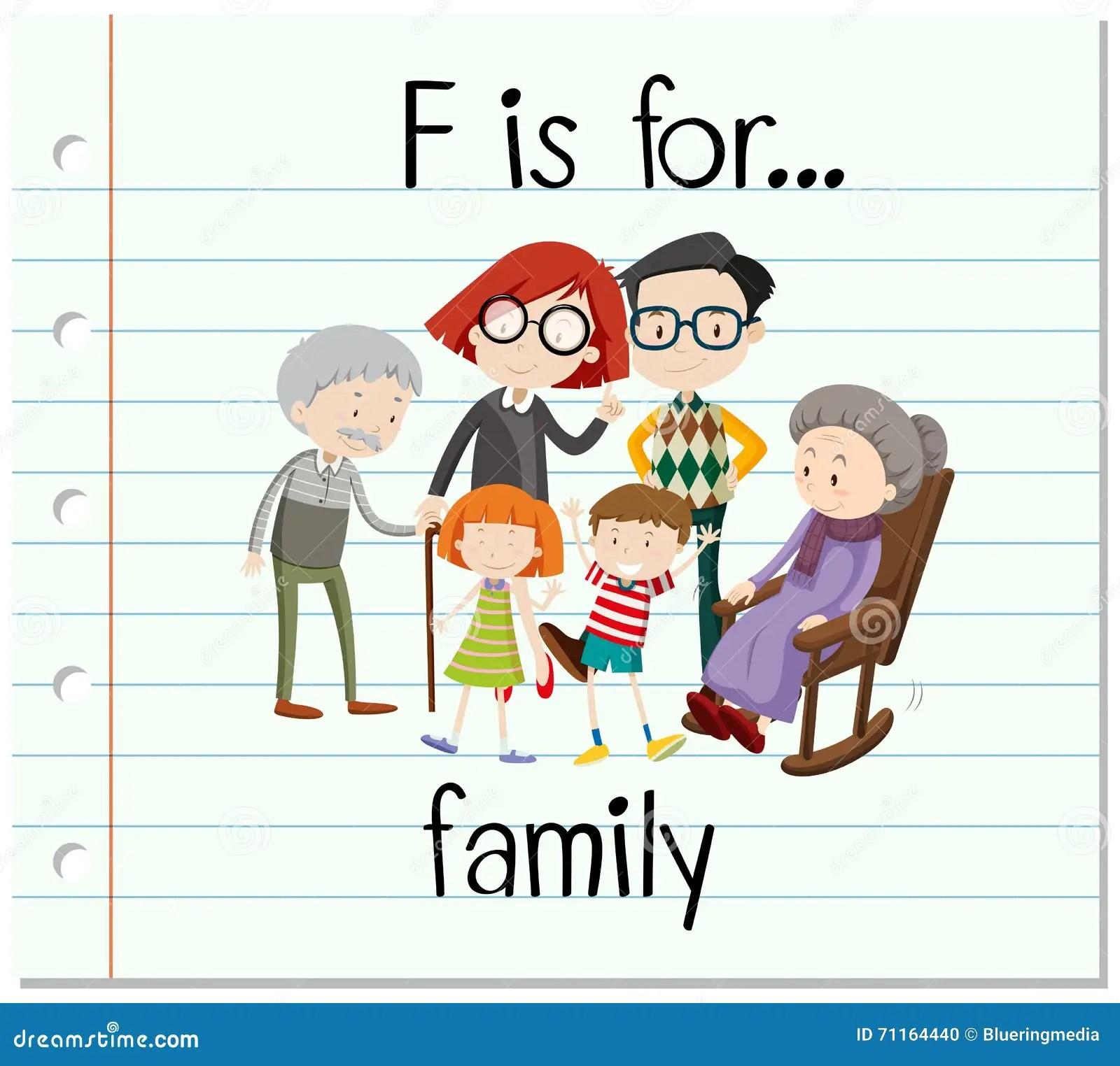 La Lettre F De Flashcard Est Pour La Famille Illustration