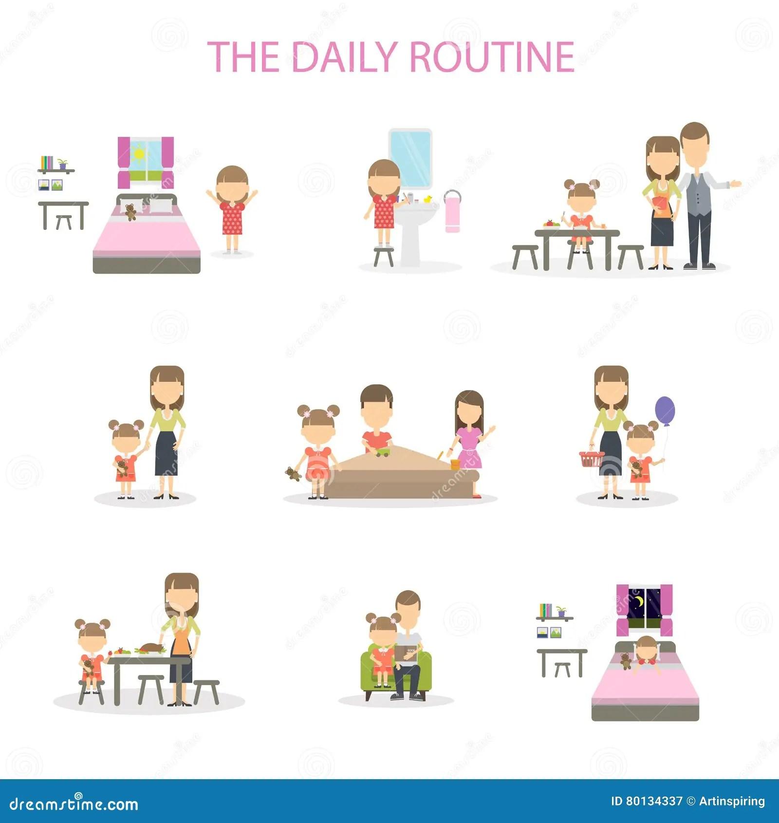 La Routine Quotidiana Illustrazione Vettoriale