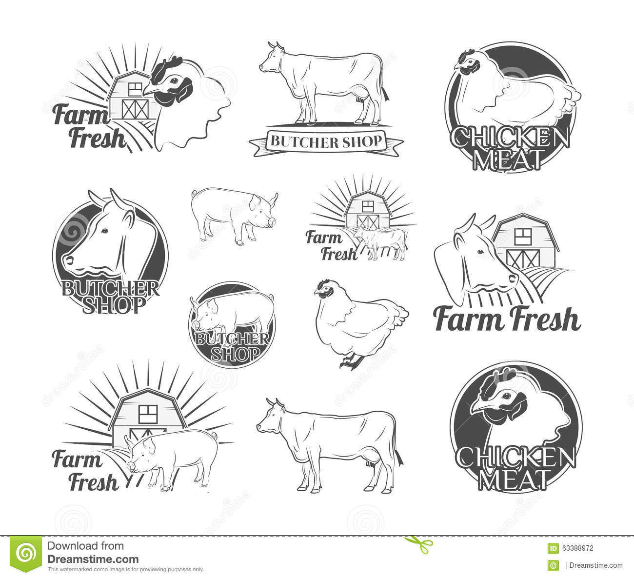 Labels And Badges With A Butcher S Shop Chicken Beef Pork Vector Illustration Stock Vector