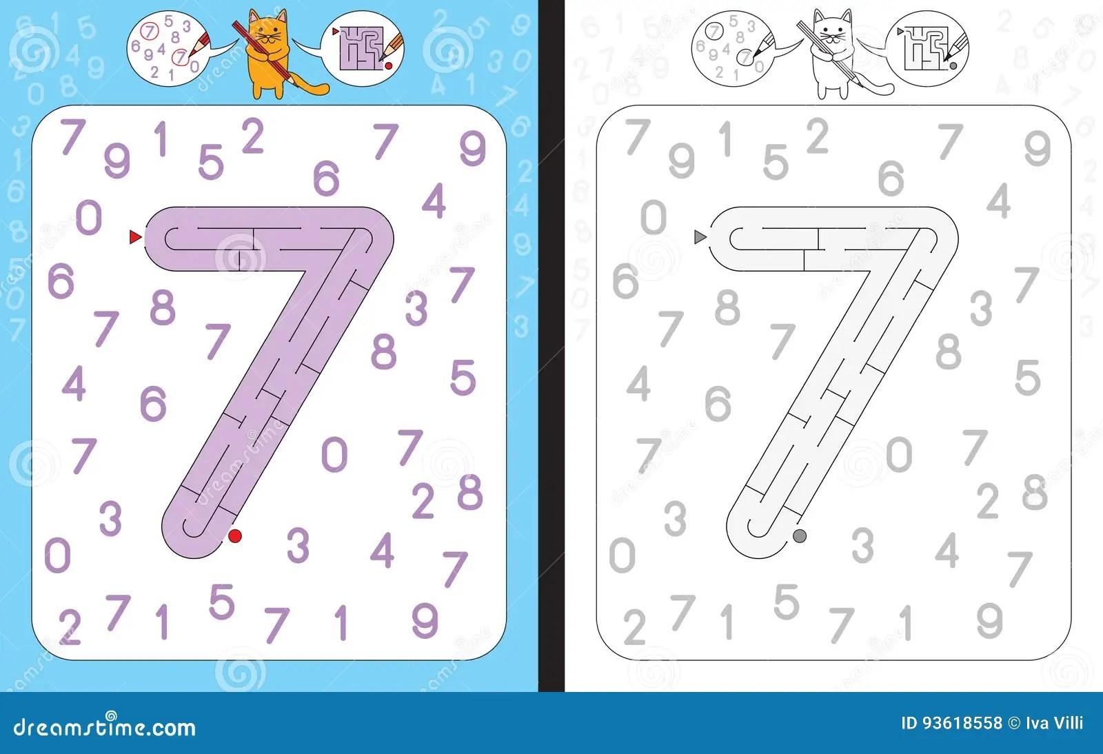 Laberinto Numero 7 Ilustracion Del Vector Ilustracion De Escritura
