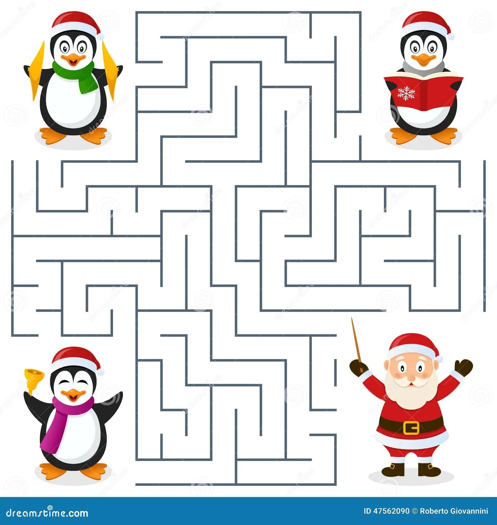 Labirinto Dei Pinguini Di Natale Per I Bambini