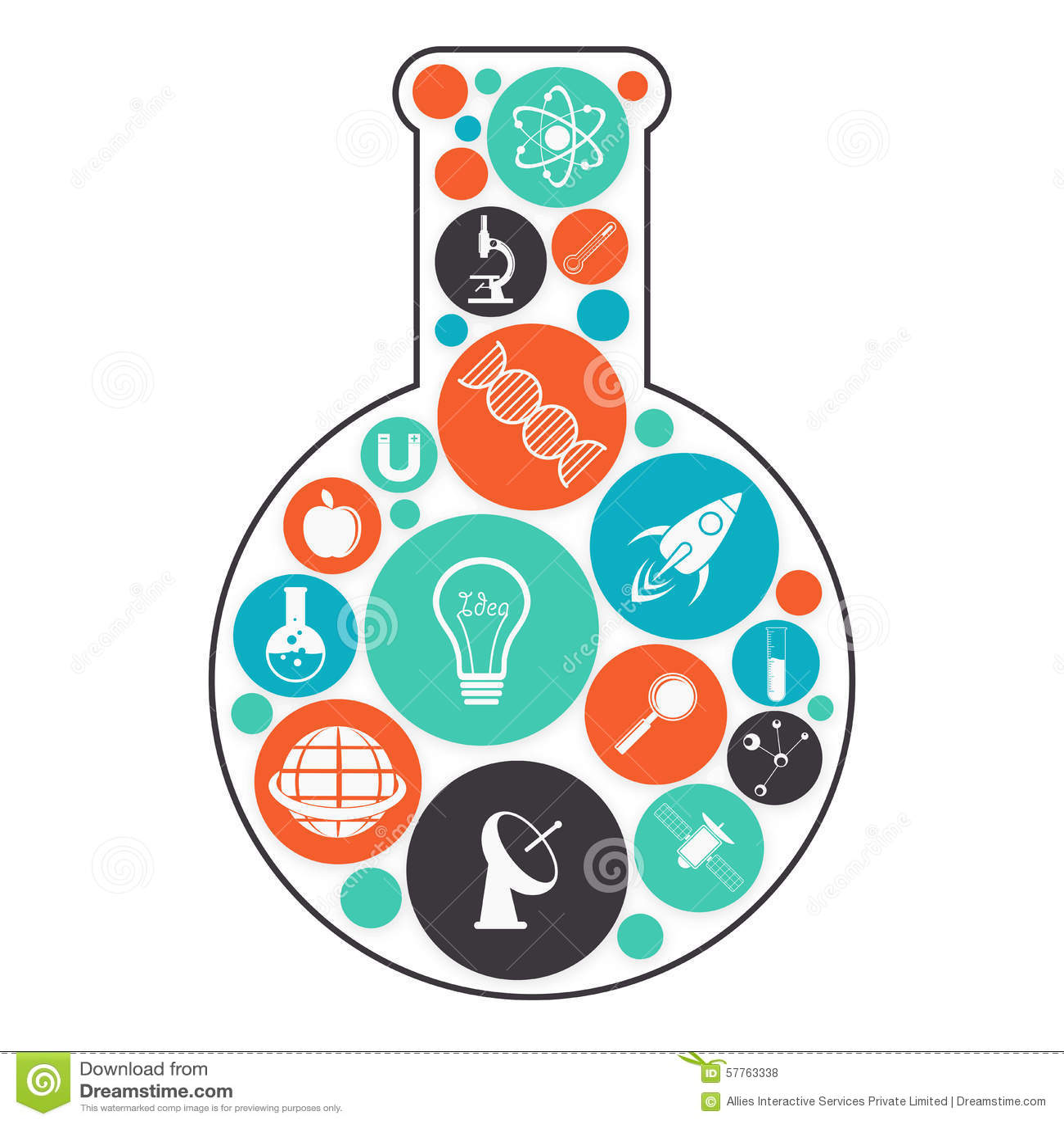 Laboratory Flask With Science Symbols Stock Photo