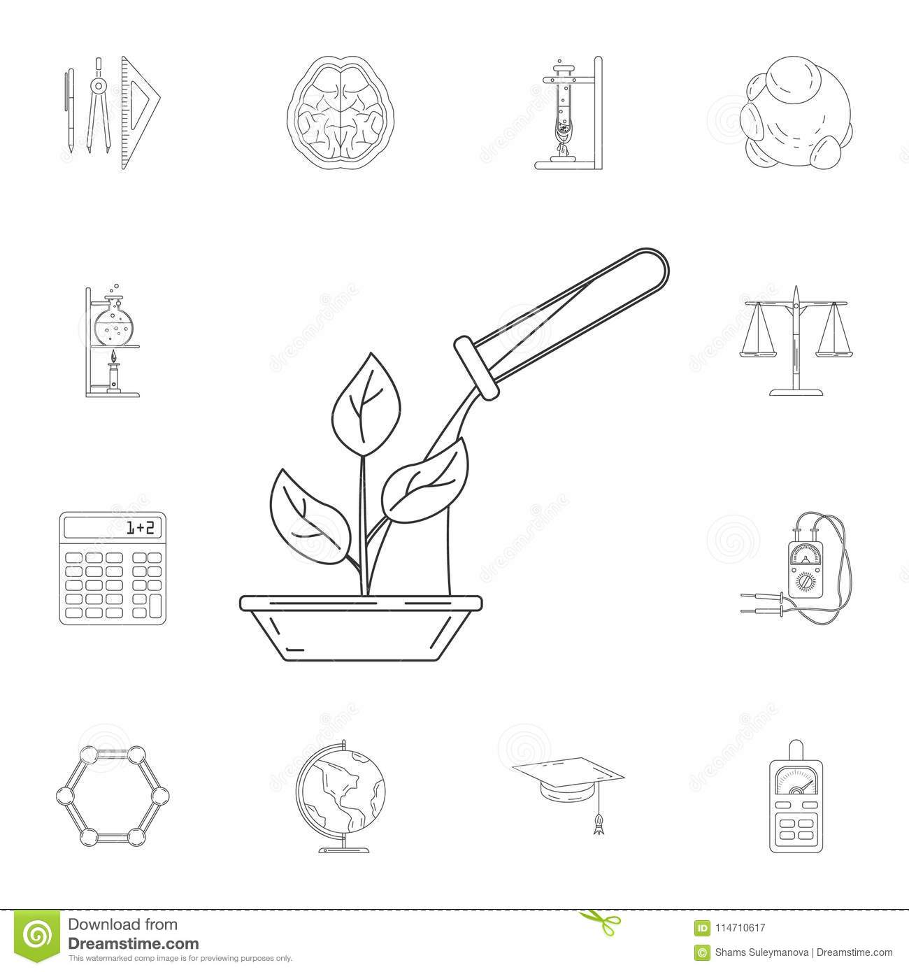 Flat Biotechnology Icons Set Cartoon Vector