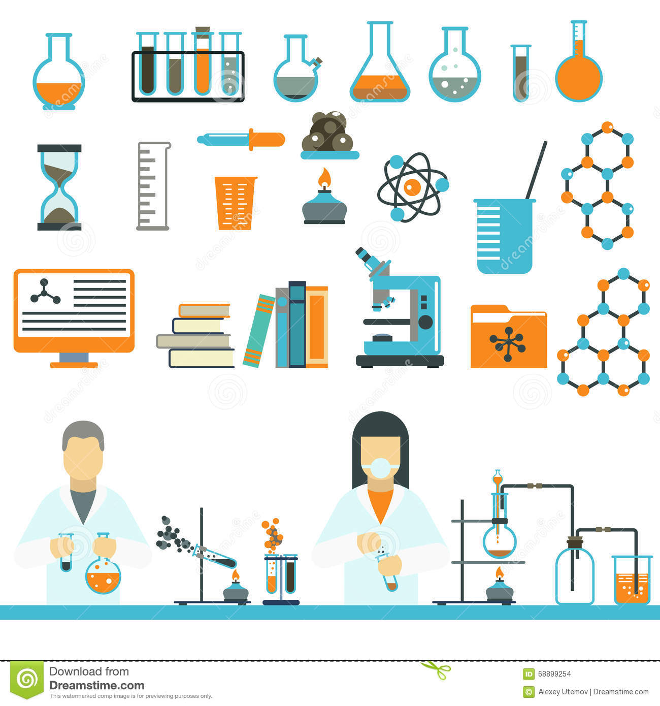 Lab Symbols Test Medical Laboratory Scientific Biology Design Molecule Concept Vector Vector