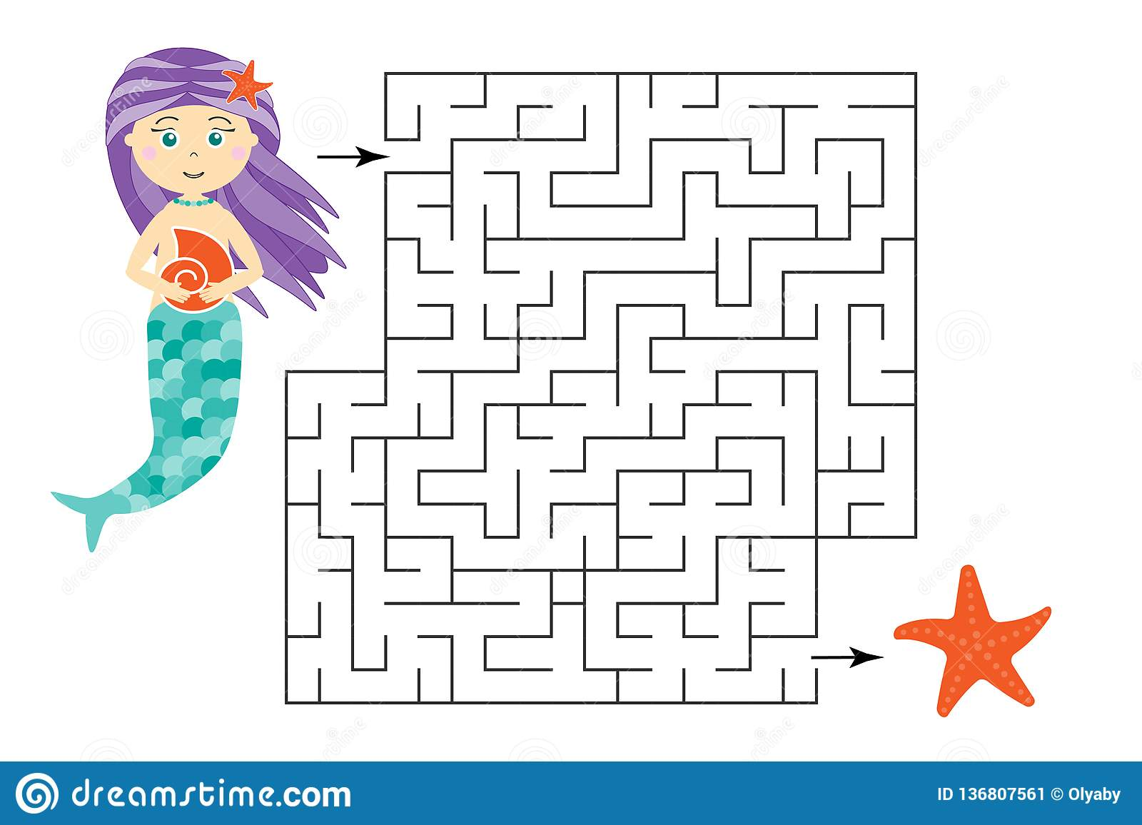 Labyrinth Game Help The Mermaid To Find A Way Out Of The