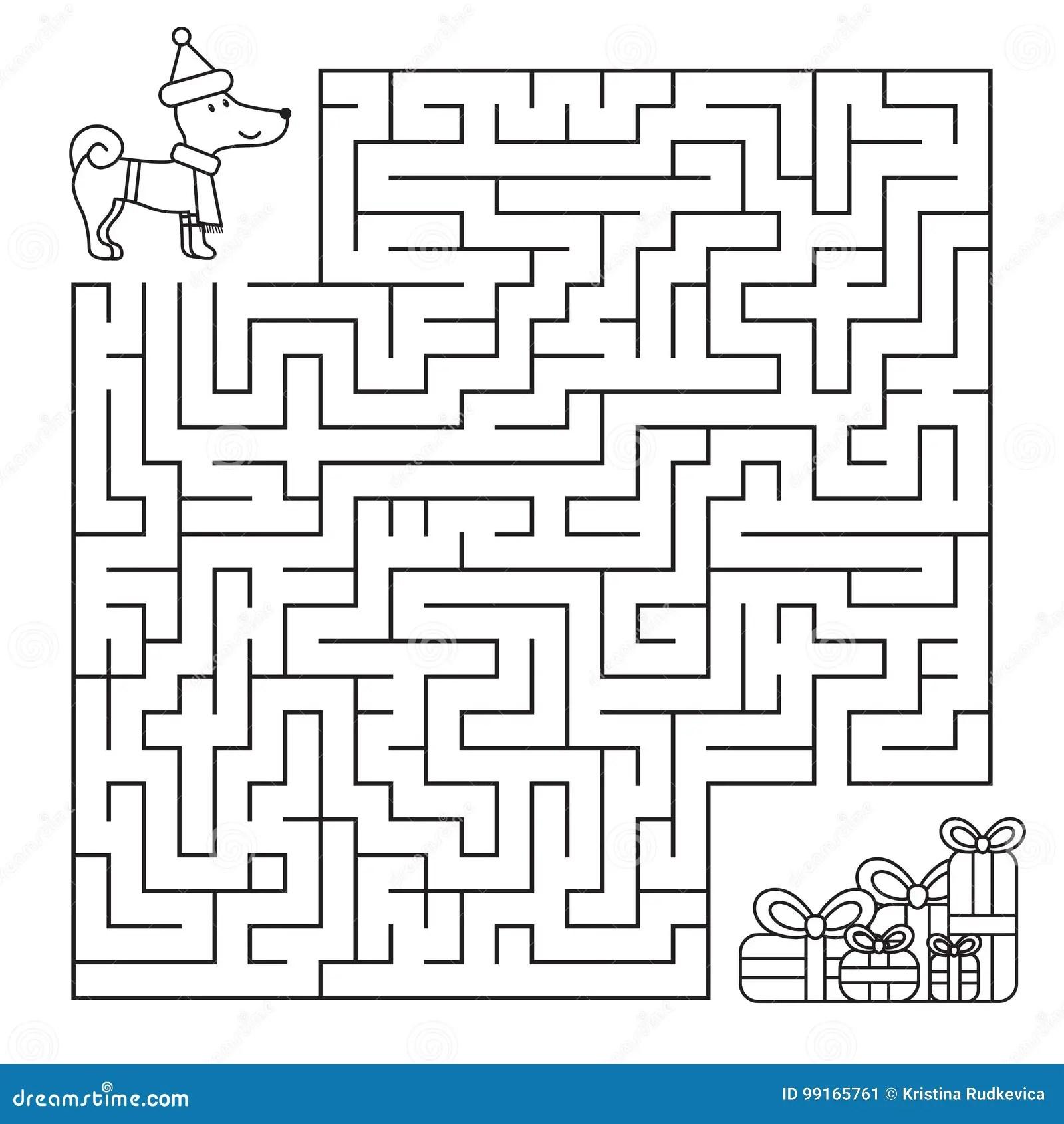 Labyrinthe De Noel Pour Des Enfants Chien Drole