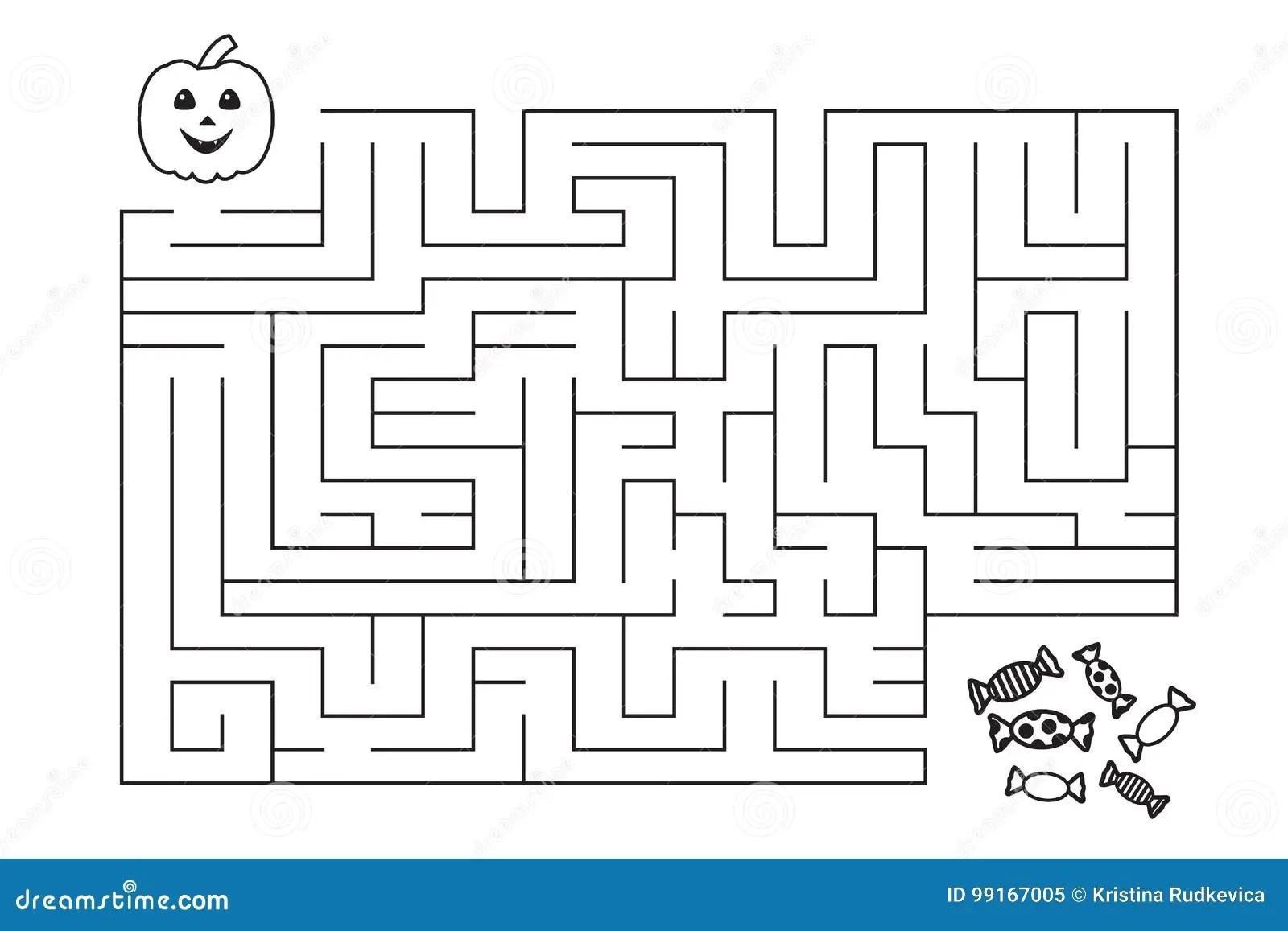 Labyrinthe Pour Des Enfants Potiron Et Sucreries De