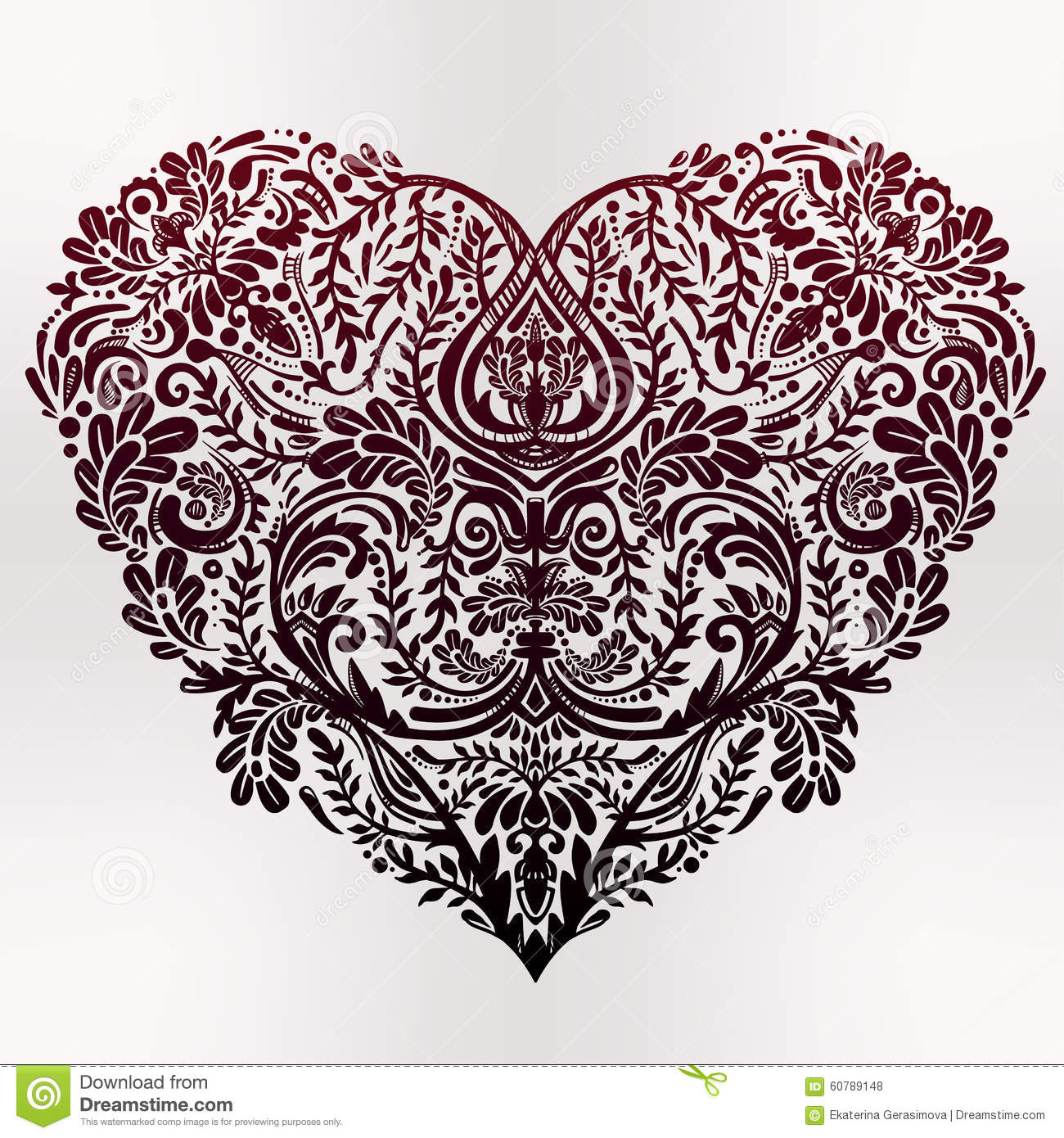Lace Heart Vector Art Stock Vector Image 60789148