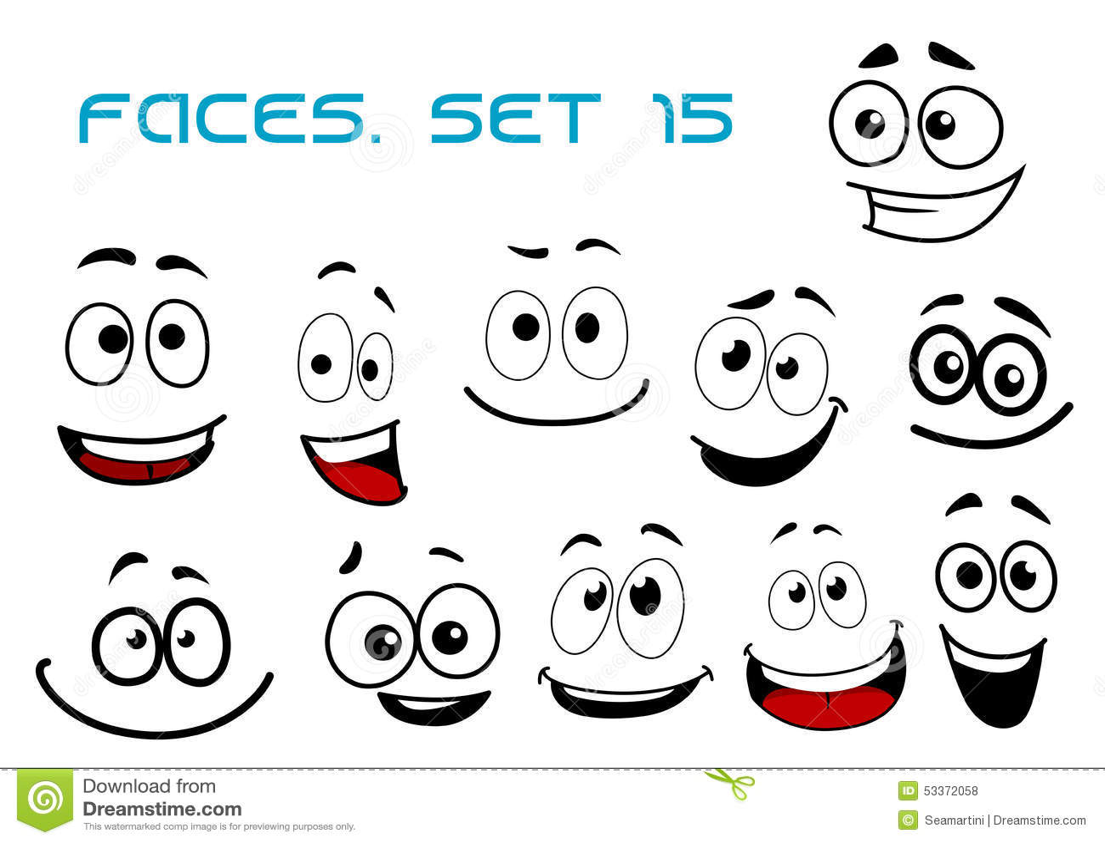 Lachende Gesichter Der Karikatur Mit Googly Augen Vektor
