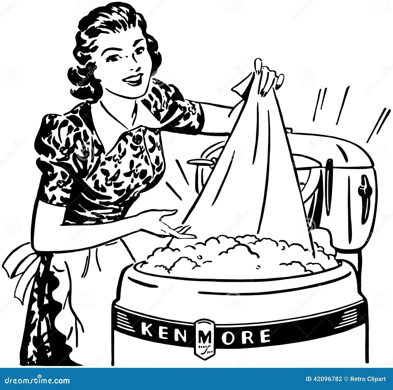 Lady Doing Laundry Stock Vector
