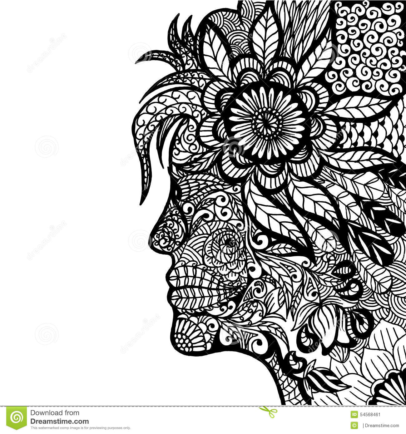 Lady Flower Zentangle Stock Vector Illustration Of Inside