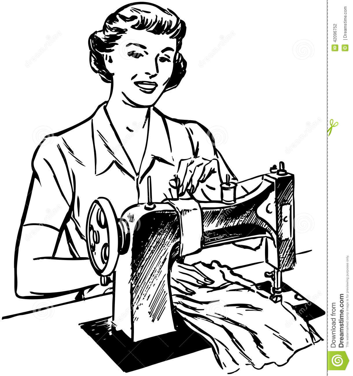 Lady Sewing Stock Vector