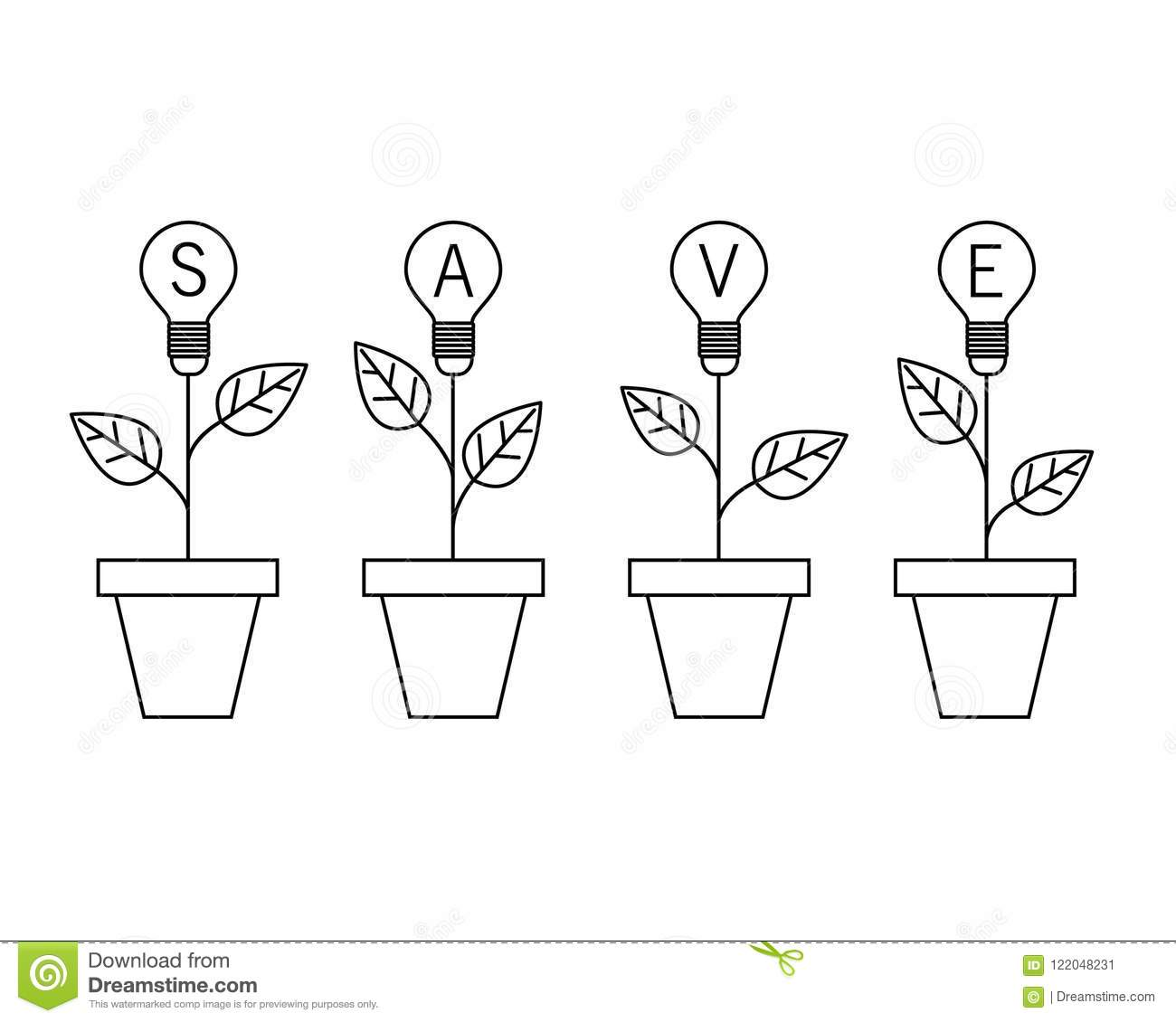 Lamp Light Bulb Plant In The Pot Growing Idea Concept