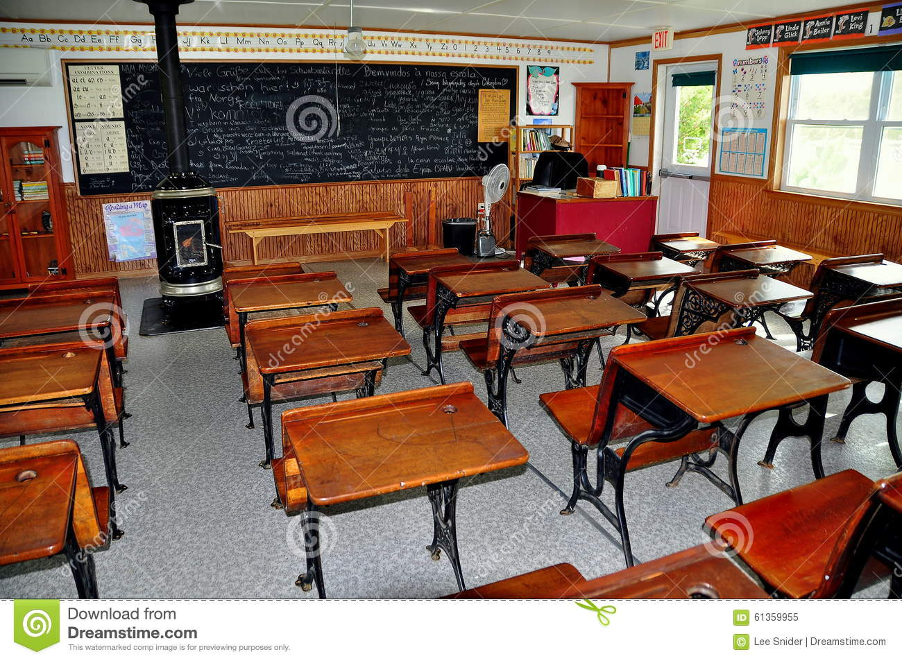 Lancaster Pa Interior Of One Room Schoolhouse Editorial